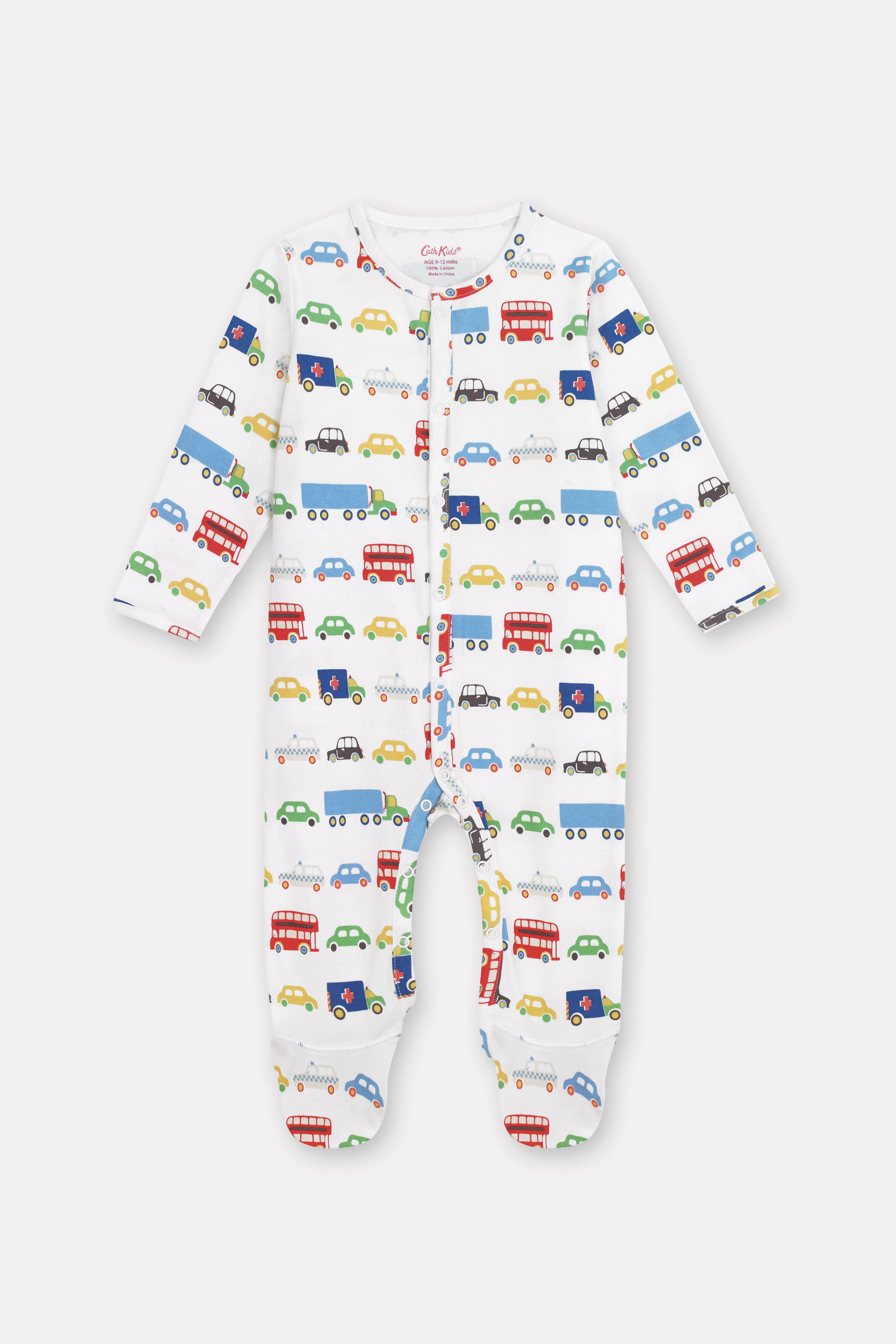 Cath Kidston Transport Sleepsuit in Oyster Shell, 0-3 Mo