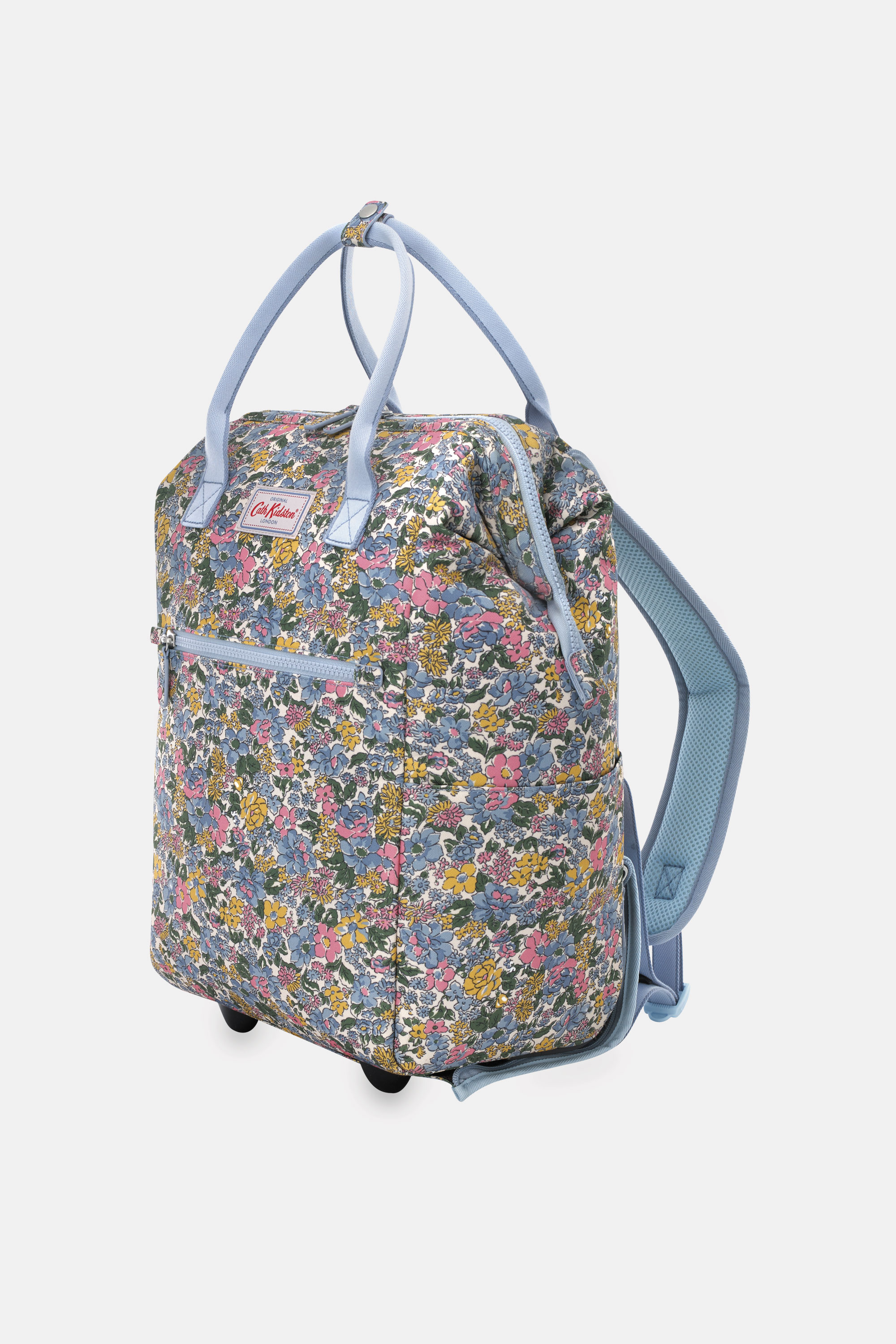 Cath Kidston Vale Floral Wheeled Backpack in Warm Cream