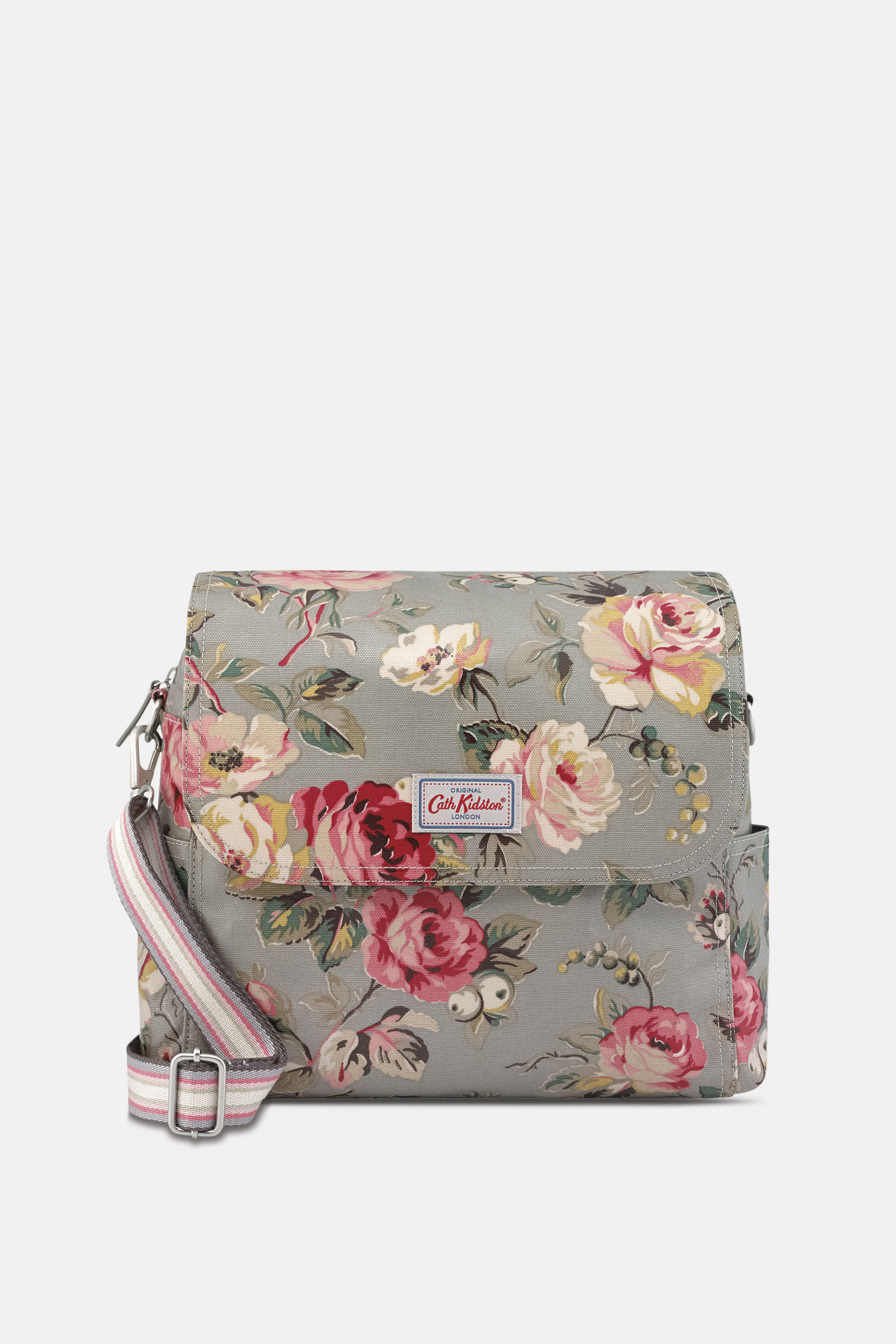 Cath Kidston Garden Rose Messenger Nappy Bag in Grey, 100% Shiny Coated Cotton Canvas