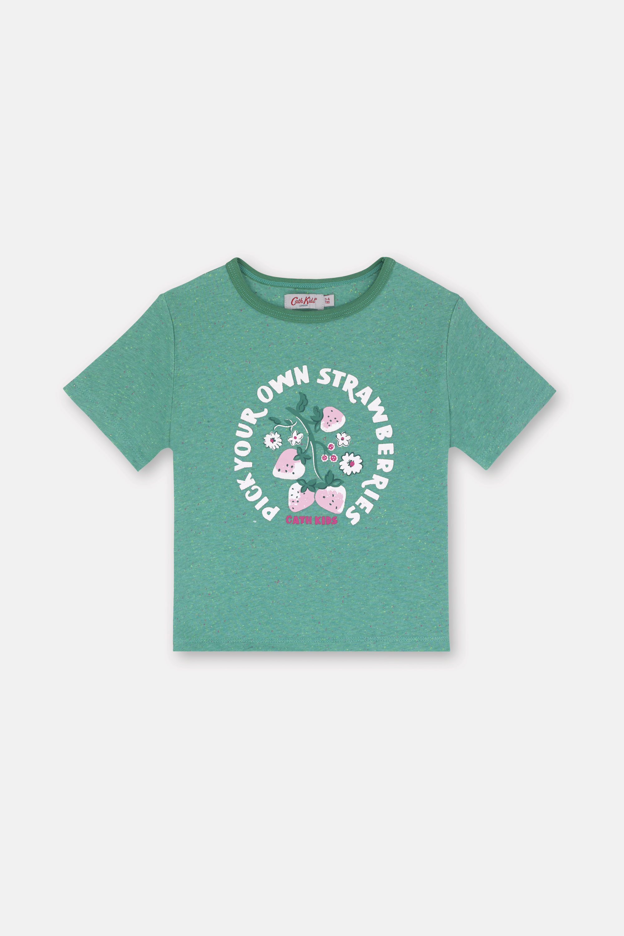 Cath Kidston Kids Short Sleeve T-Shirt in Green Marl, Sweet Strawberry, 100% Cotton, 3-4 yr