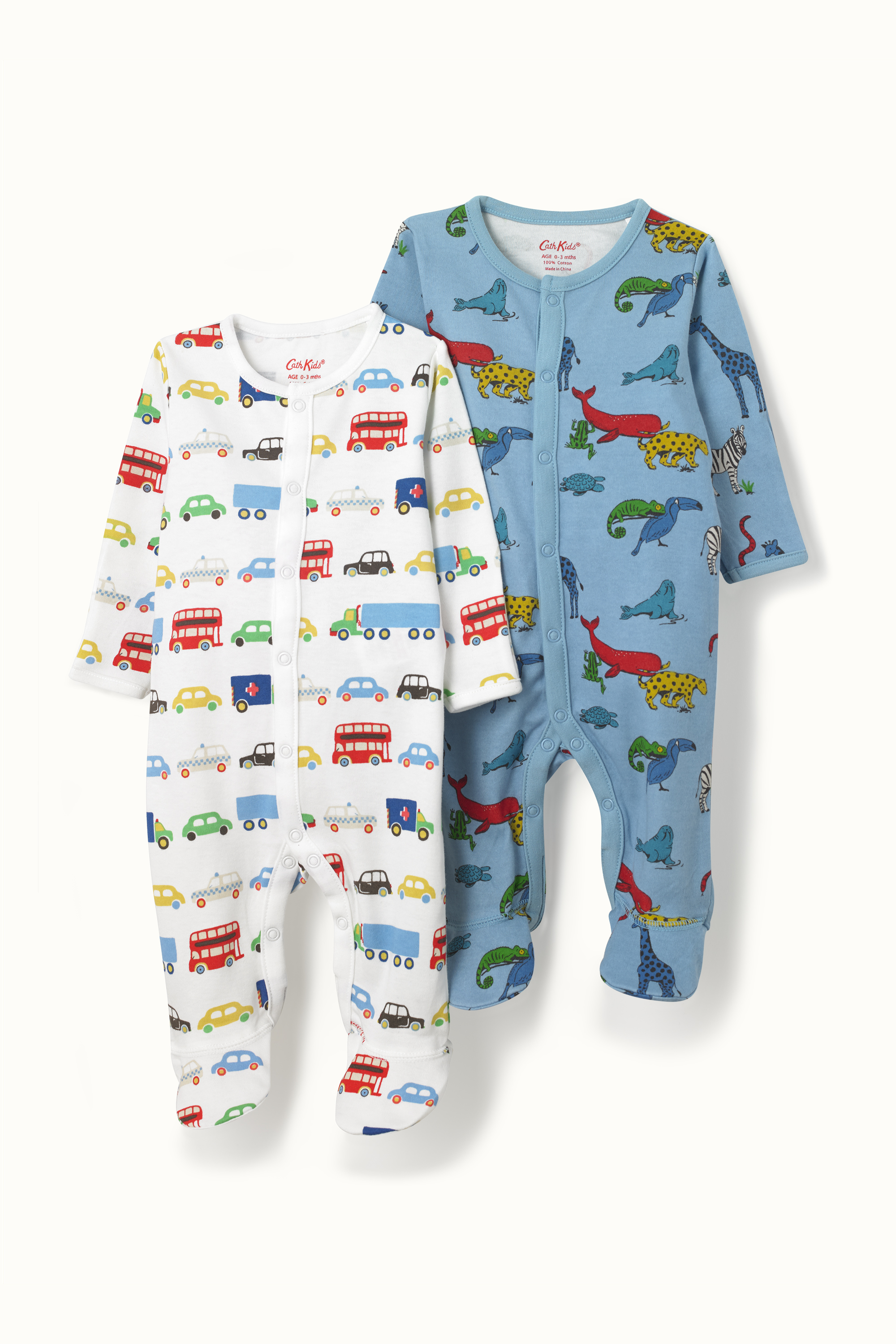 Cath Kidston Two Pack Transport and Animals Sleepsuit in Oyster Shell, 3-6 Mo