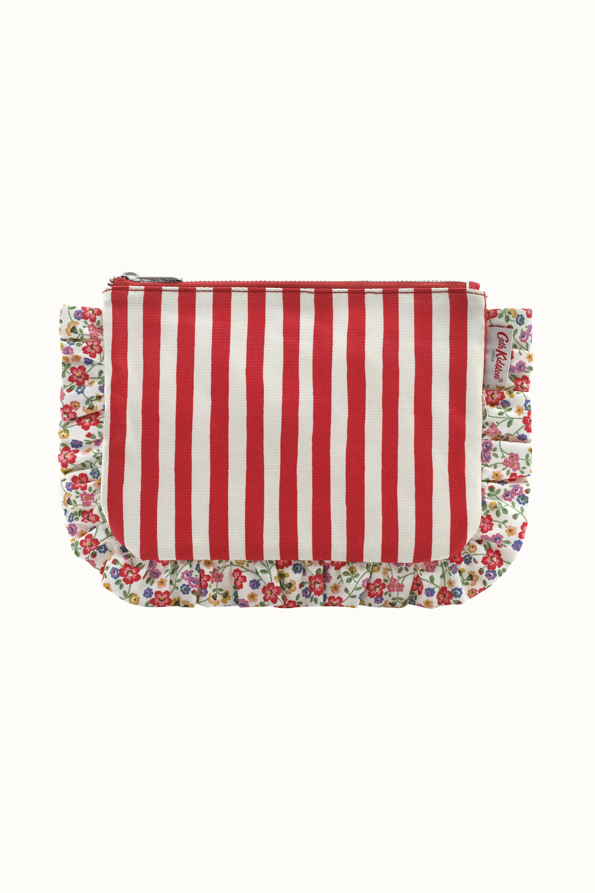 Cath Kidston Candy Stripe Frilly Pouch in Red
