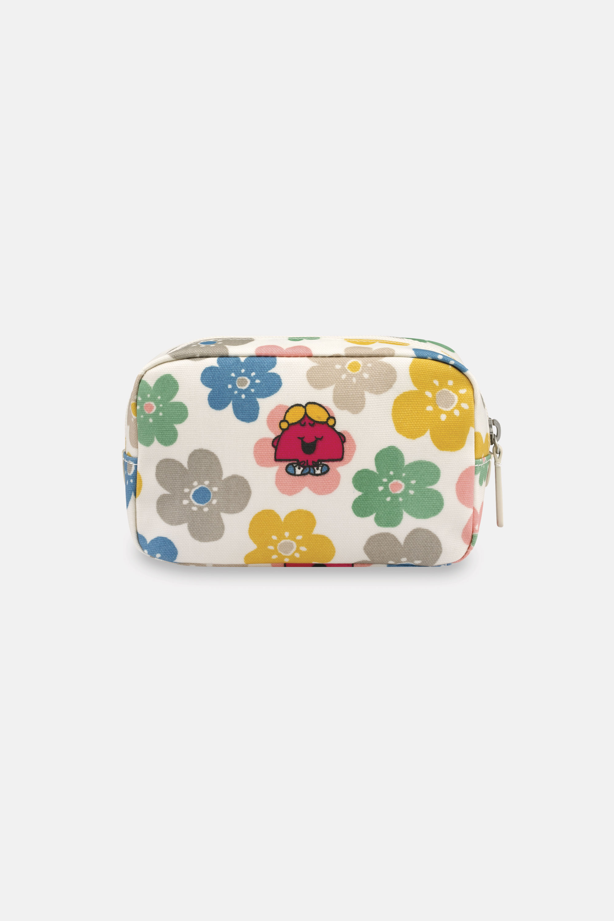 Cath Kidston Mr Men Floral Box Cosmetic Bag in Oyster Shell, 100% PVC Shiny Coated Cotton