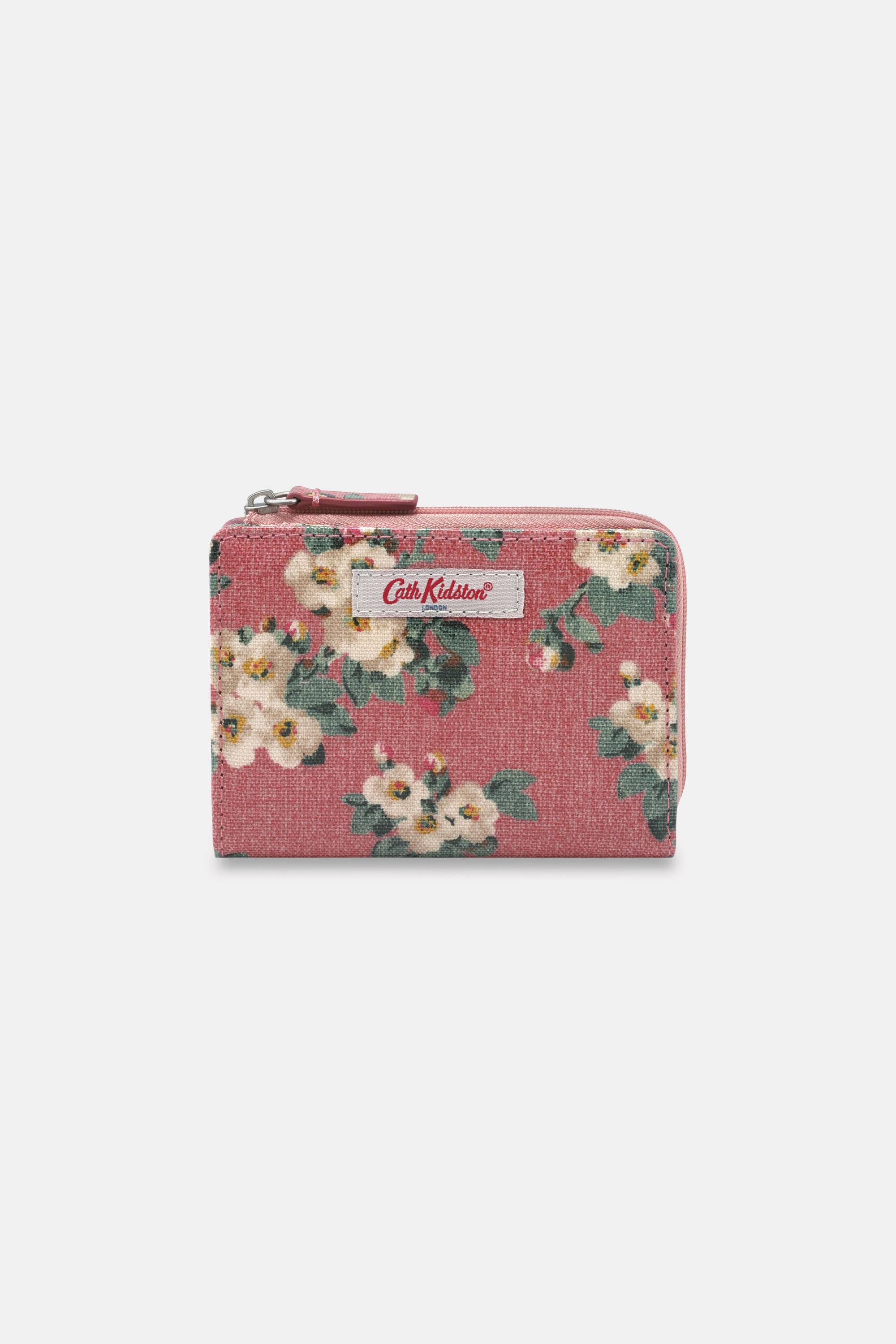 Cath Kidston Mayfield Blossom Slim Pocket Purse in Dusty Pink, 100% PVC Coated Cotton