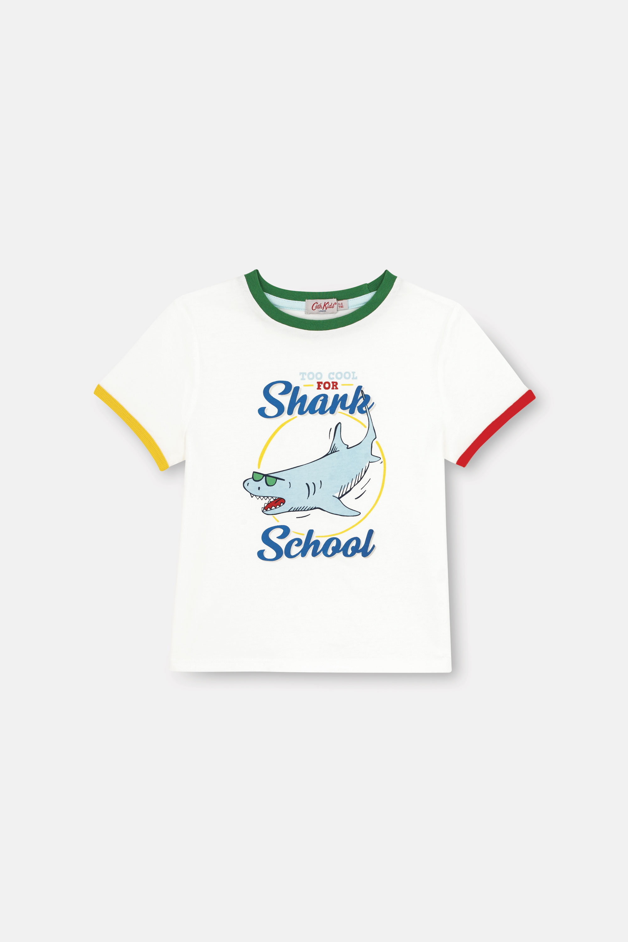 Cath Kidston Summer Shark Short Sleeve Everyday T-Shirt in Ivory, 5-6 yr