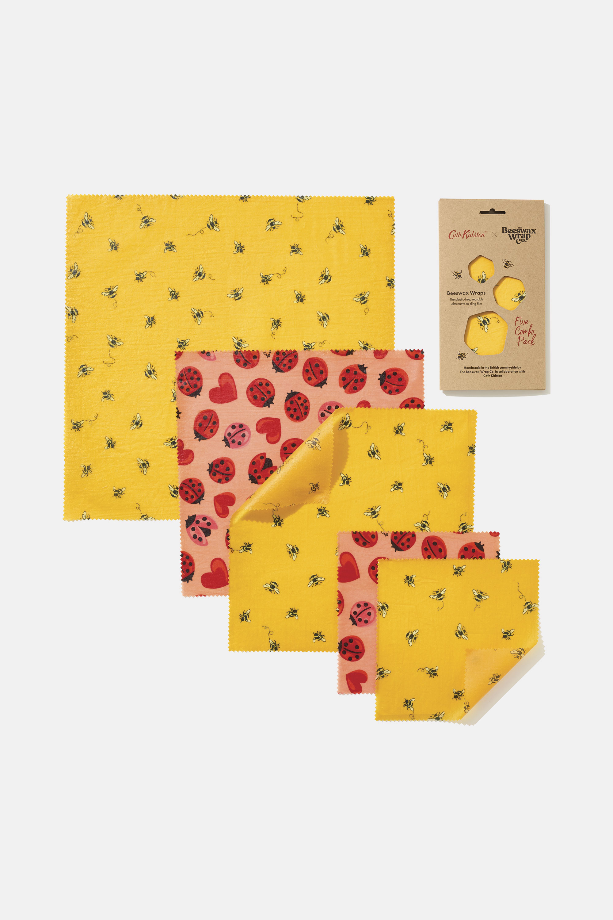 Cath Kidston The Beeswax Wrap Co. Bee 5 Combo Pack in Deep Yellow