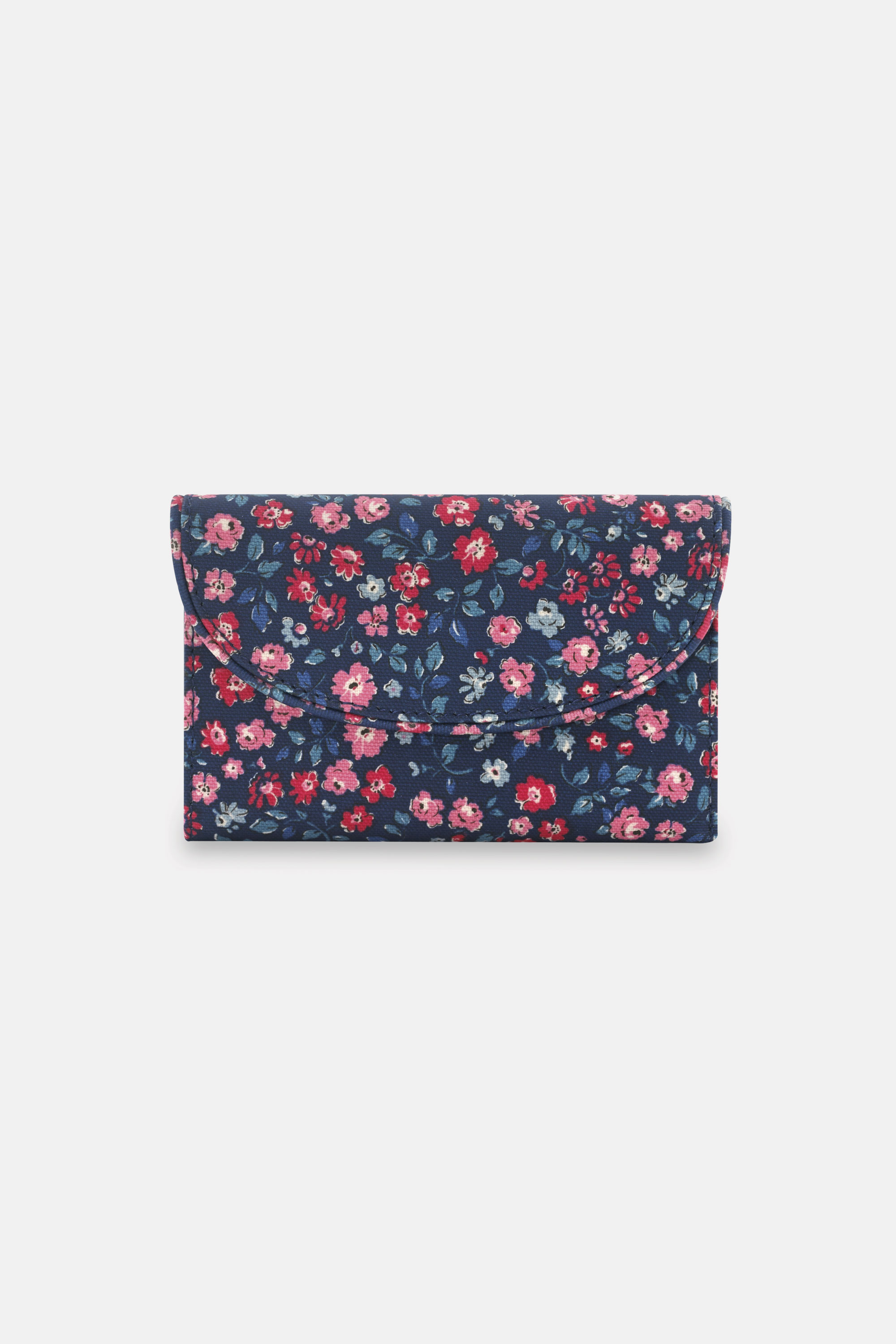 Cath Kidston Floral Folded Curve Wallet in True Navy, Dulwich Ditsy, 100% PVC Coated Cotton