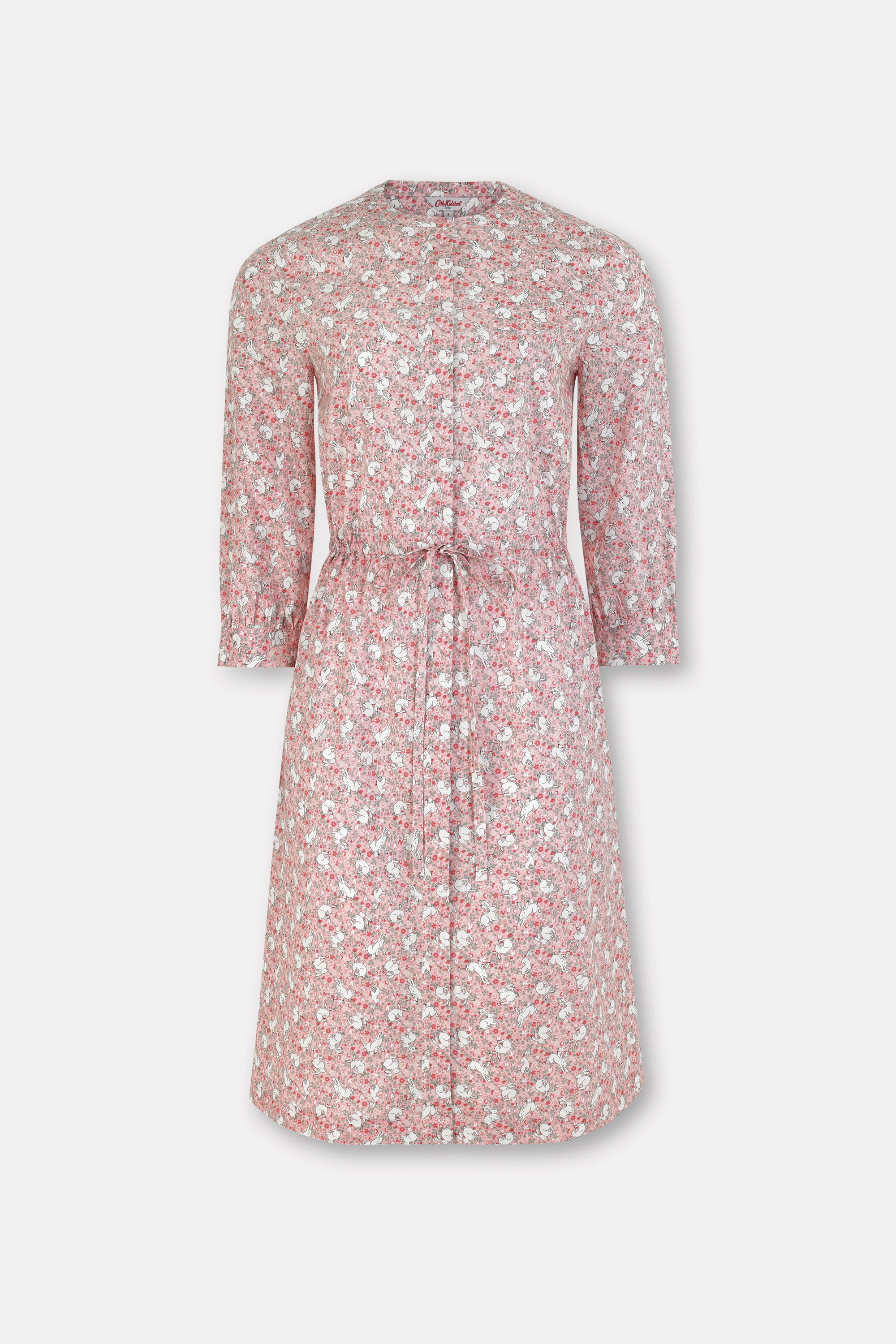 Cath Kidston Jumping Bunnies Cotton Drawcord Shirt Dress in Light Pink, 100% Cotton, 6