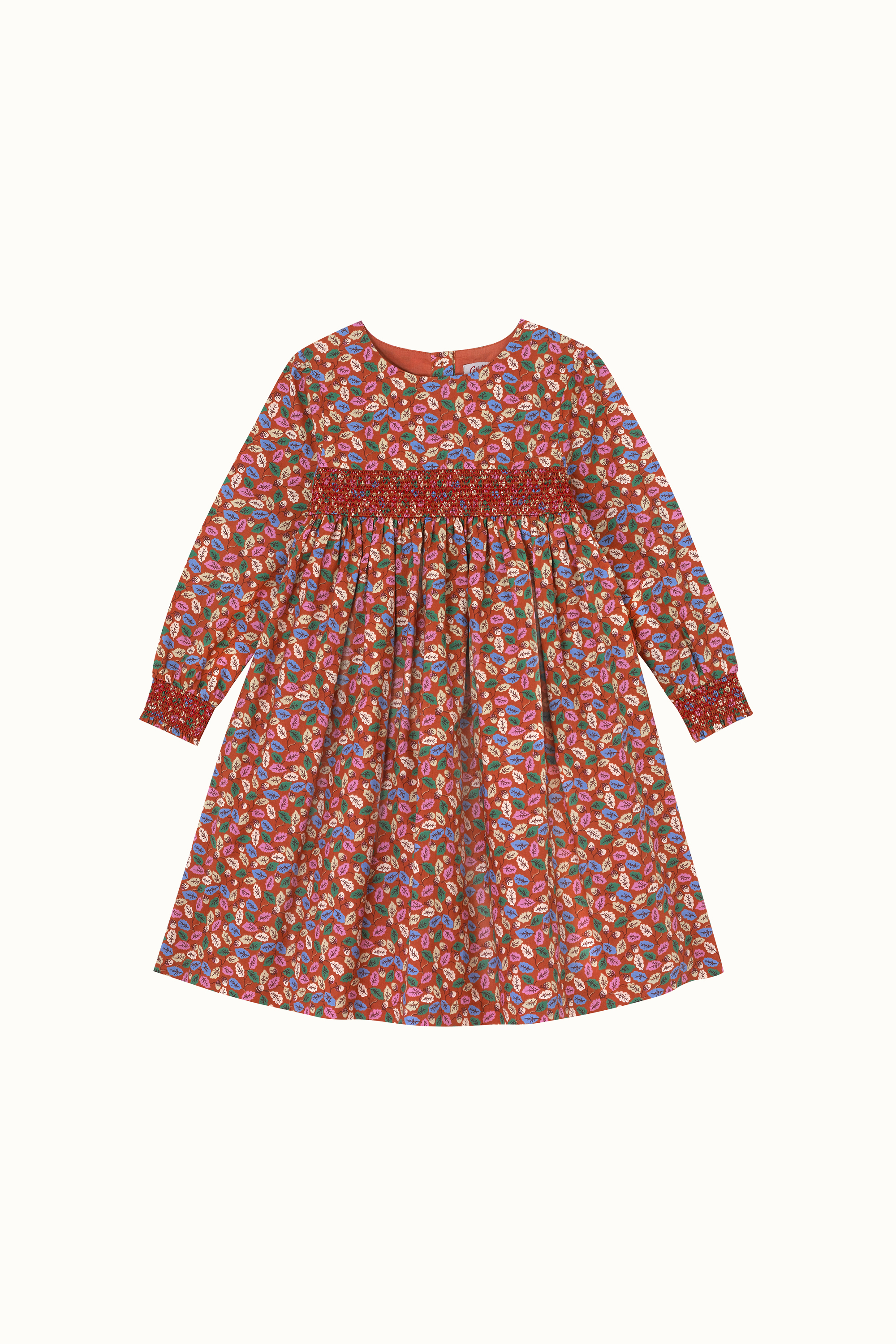 Cath Kidston Trailing Leaves Evie Shirred Dress in Red Brown, 8-9 yr