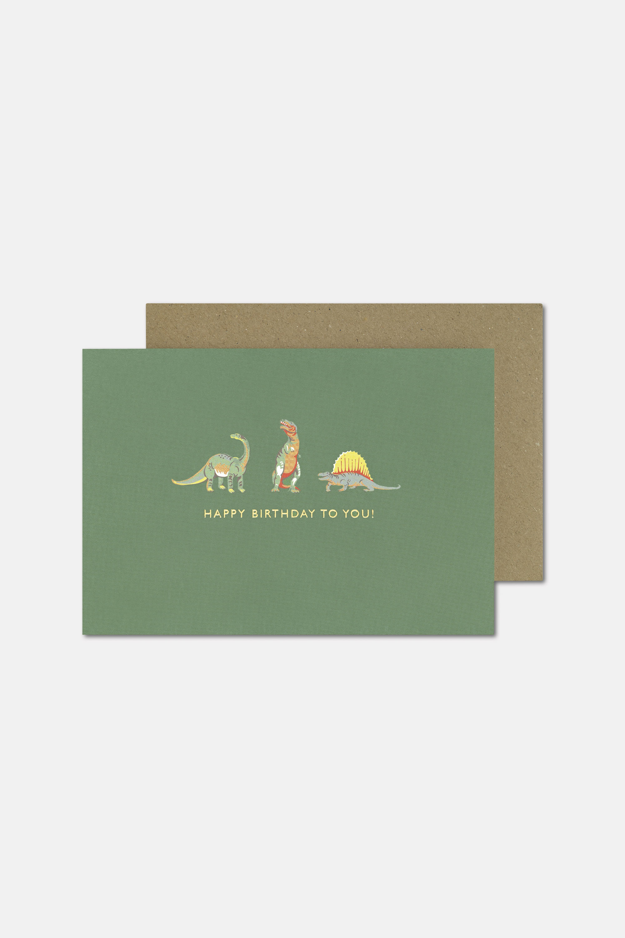 Cath Kidston Happy Birthday To You Dino Card in Fresh Green, Solid, Paper