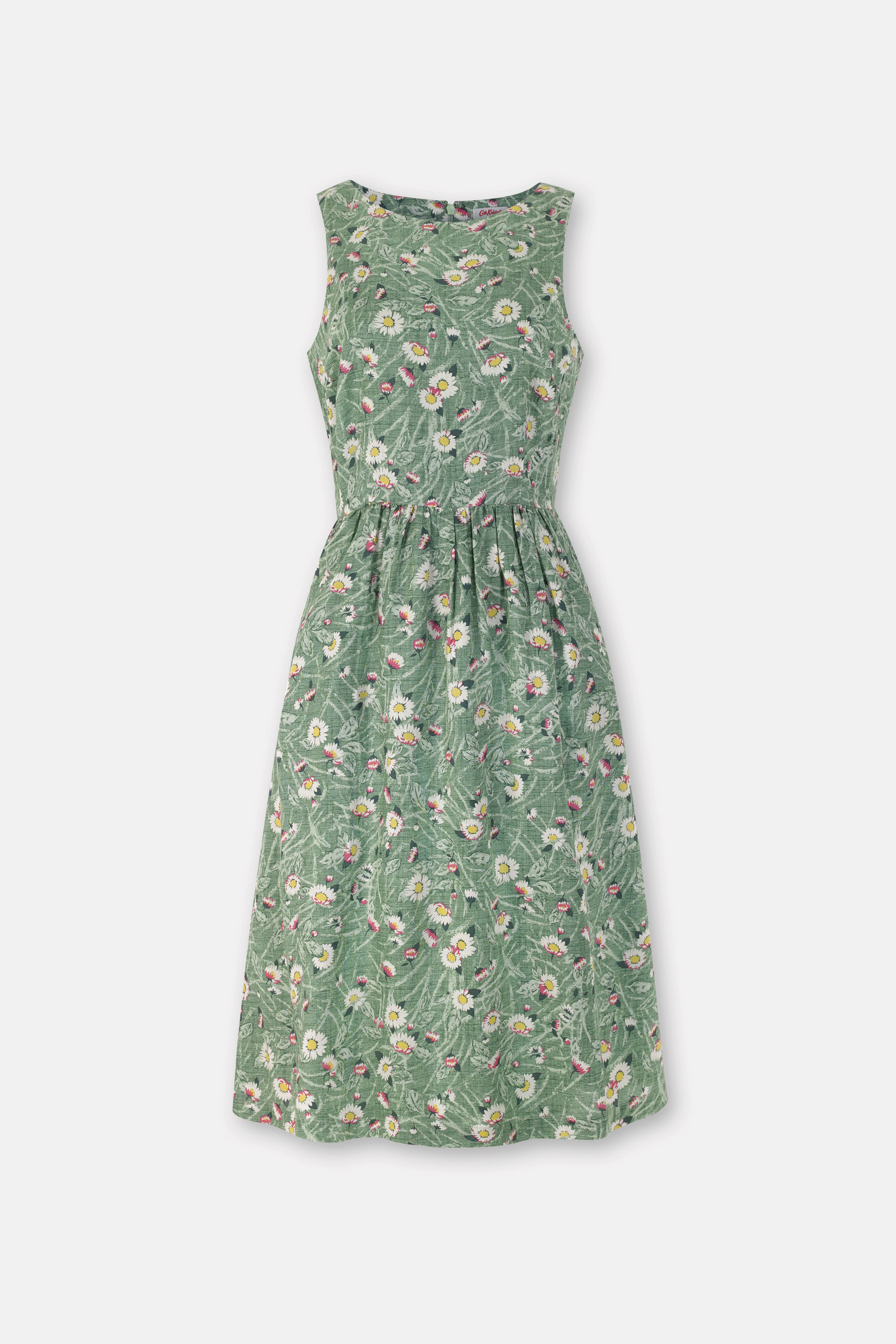 Cath Kidston Floral Green Fit & Flare Dress in Grass Green, Wild Daisies, Cotton, 8