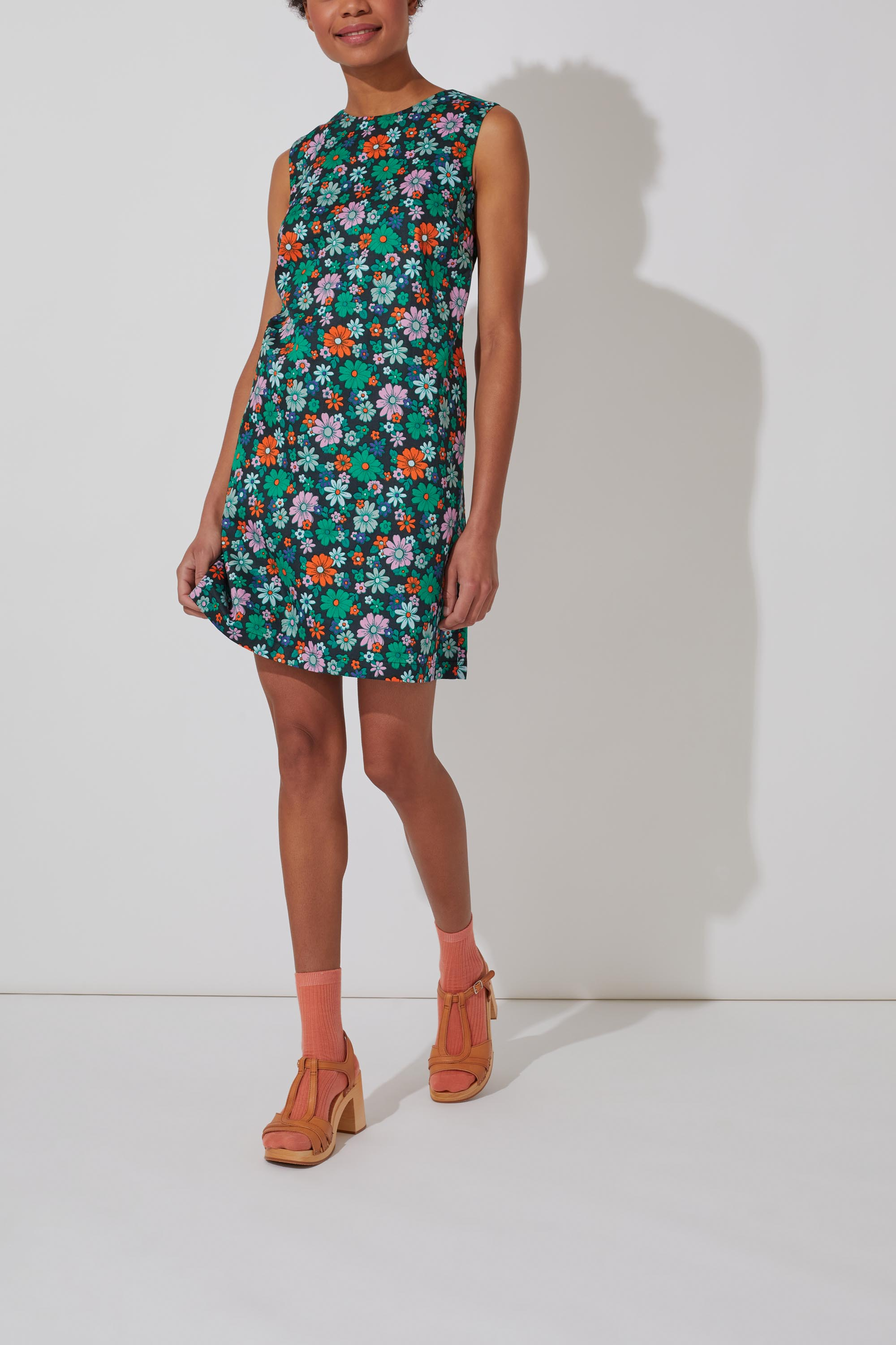 Cath Kidston Petals Sleeveless Shift Dress in Forest Green, 14
