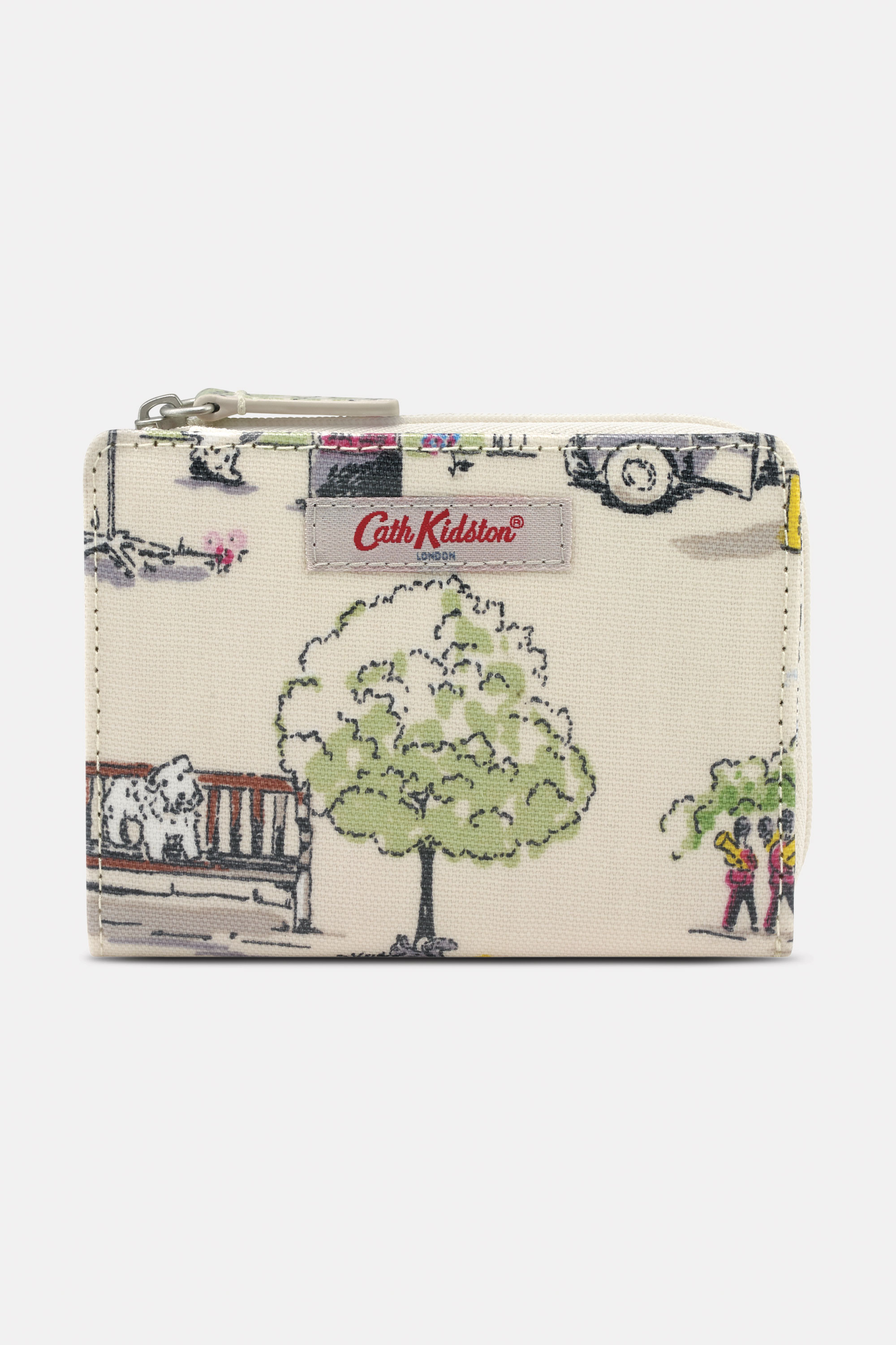 Cath Kidston Billie Goes to Town Slim Pocket Purse in Ivory, 100% PVC Coated Cotton