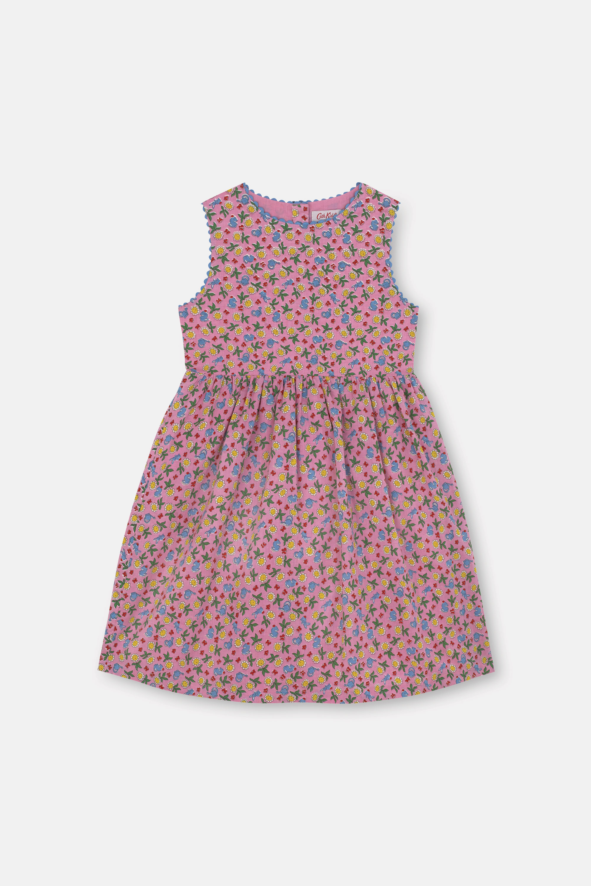Cath Kidston Petal Flowers Ditsy Charlotte Dress in Mid Pink, 2-3 yr