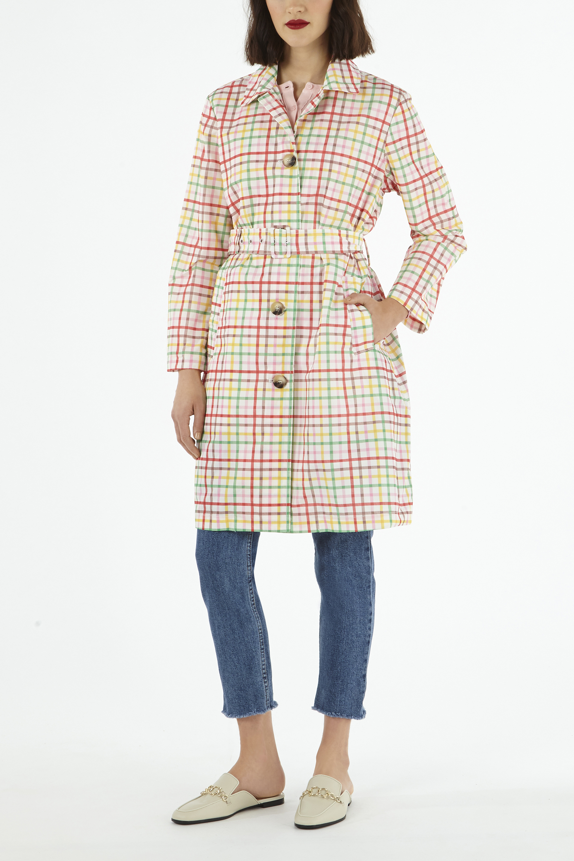 Cath Kidston Gingham Check Print Duster Coat in Warm Cream Multi, 100% Polyester, 10