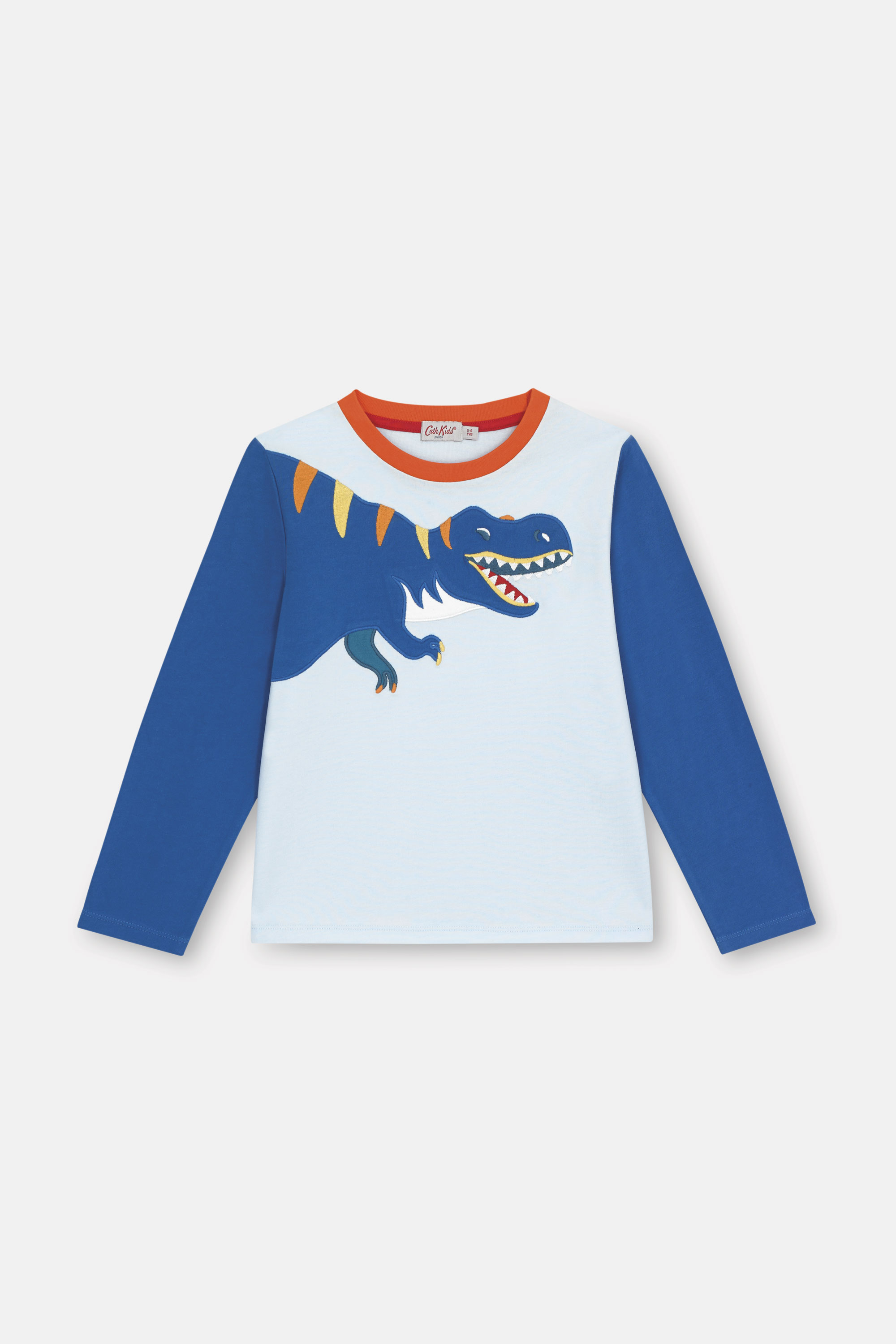 Cath Kidston Dinosaur Jungle Long Sleeve Everyday T-Shirt in Blue, 3-4 yr