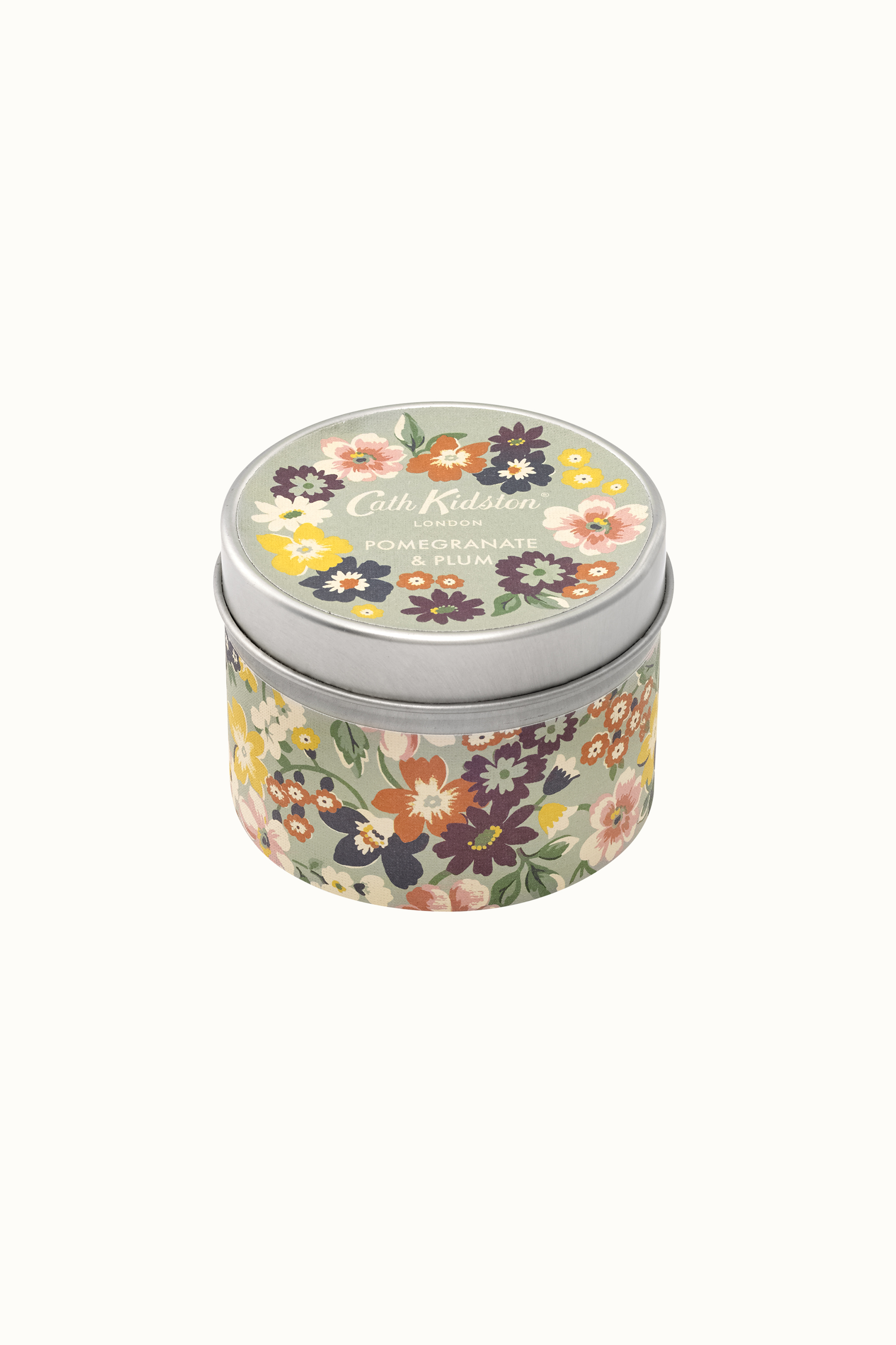 Cath Kidston Portland Flowers Pomegranate & Plum Tin Candle in Sage
