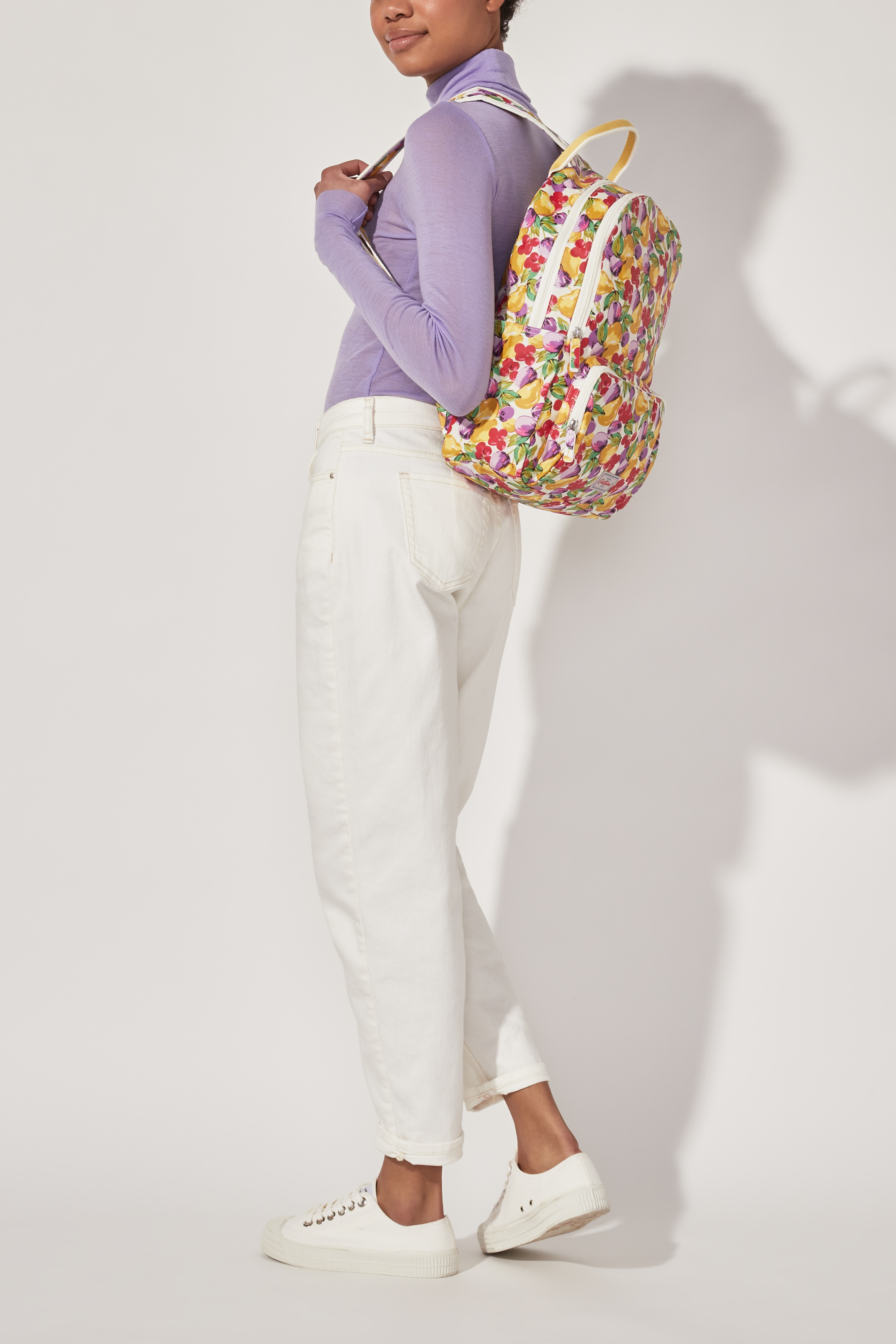 Cath Kidston Small Painted Fruit Pocket Backpack in Warm Cream