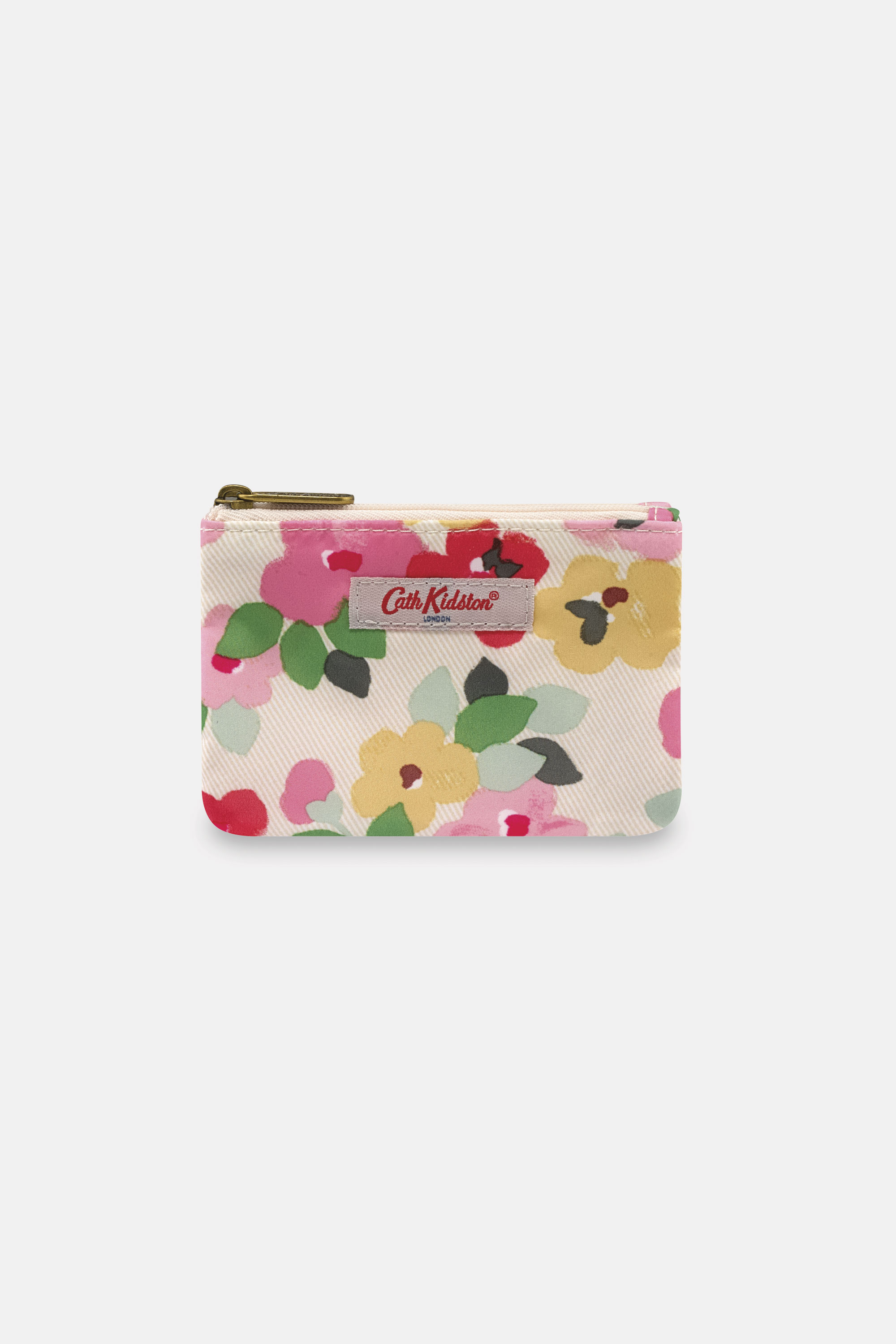 Cath Kidston Double Pocket Purse in Cream, Large Painted Pansies, 100% Polyester