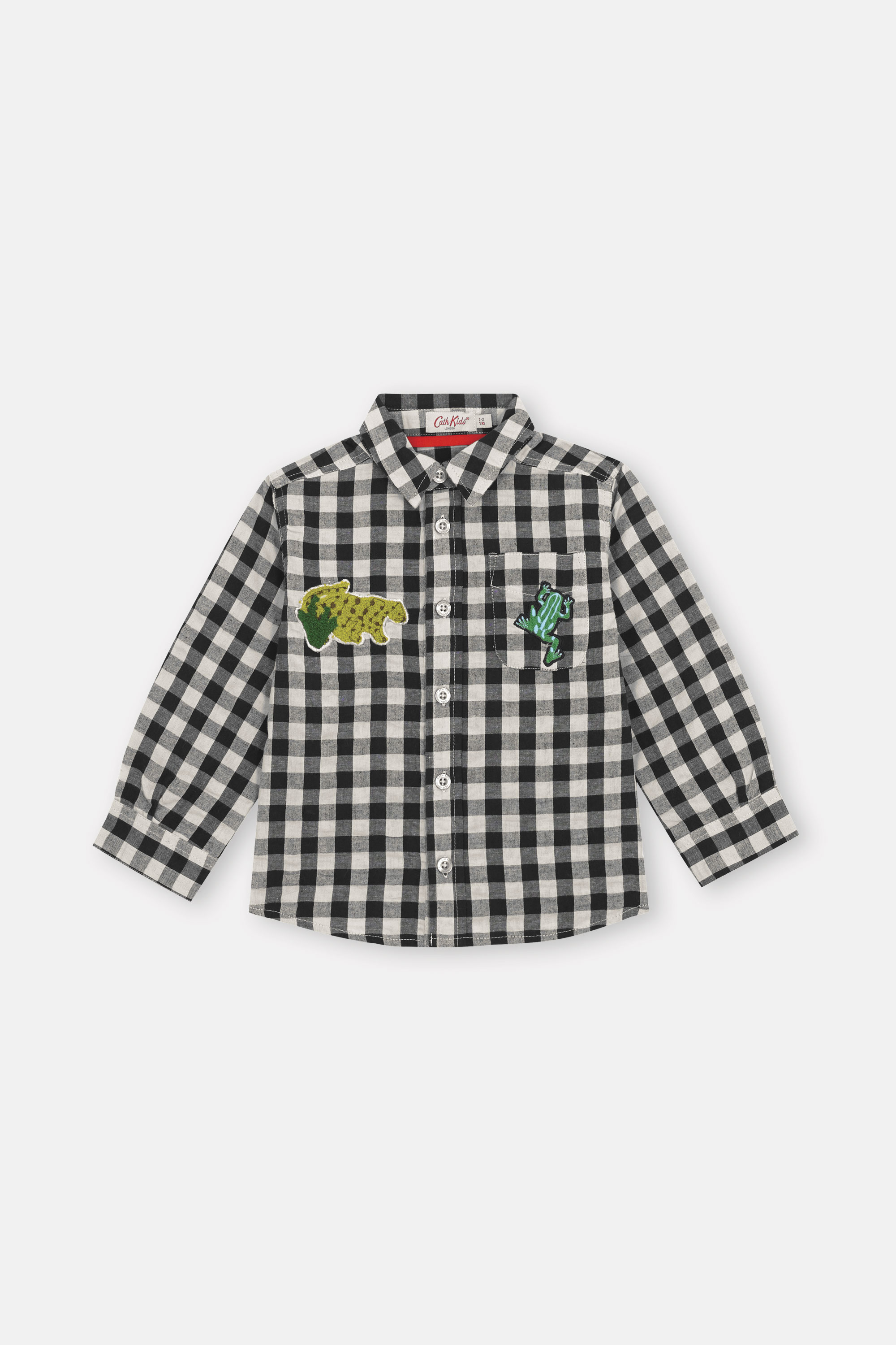 Cath Kidston Gingham Check Long Sleeve Oliver Shirt in Charcoal Stone, 3-4 yr