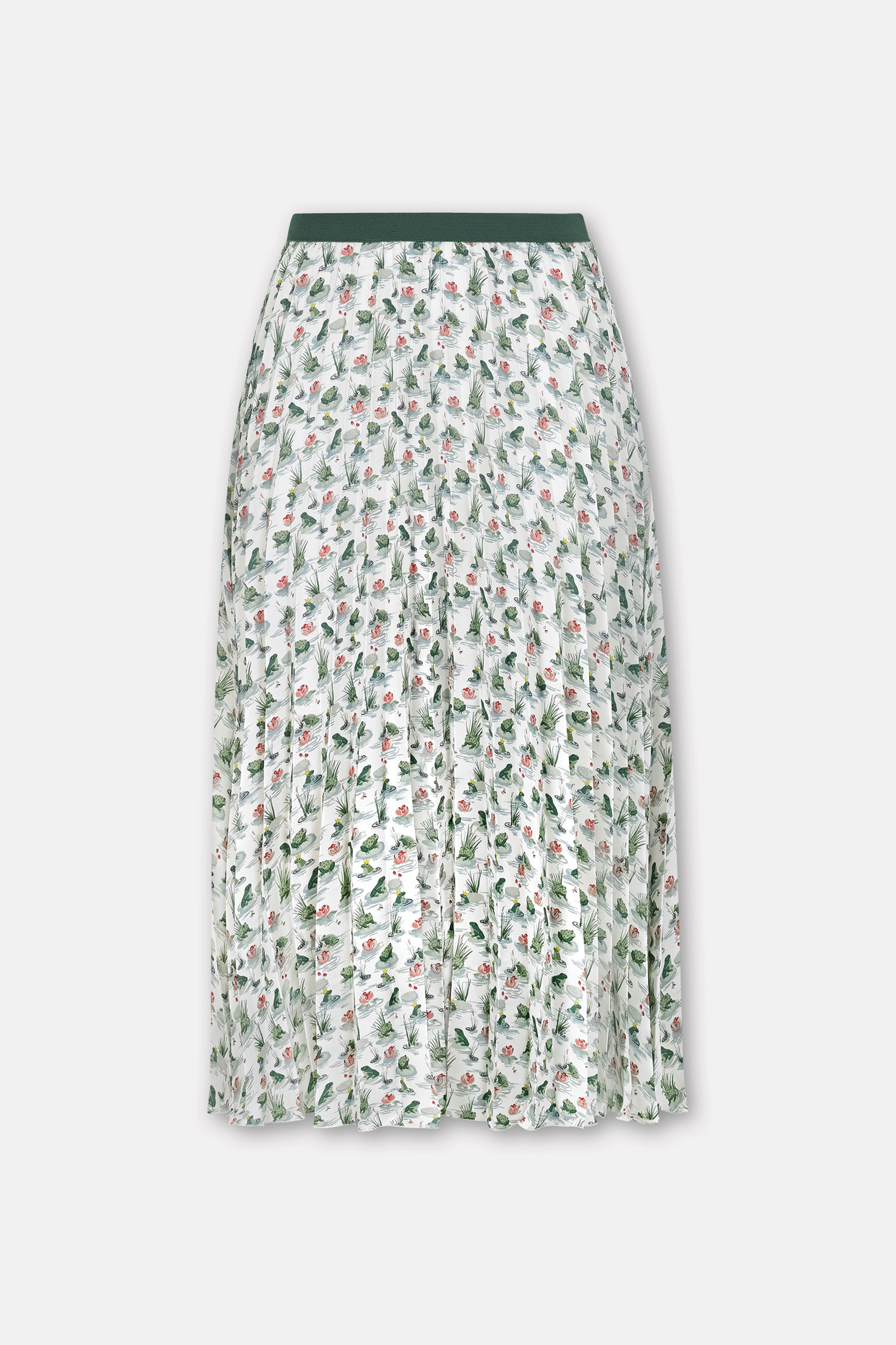 Cath Kidston Bathing Frogs Pleated Skirt in Warm Cream, Bathing Frogs Small, 100% Polyester, Size Medium