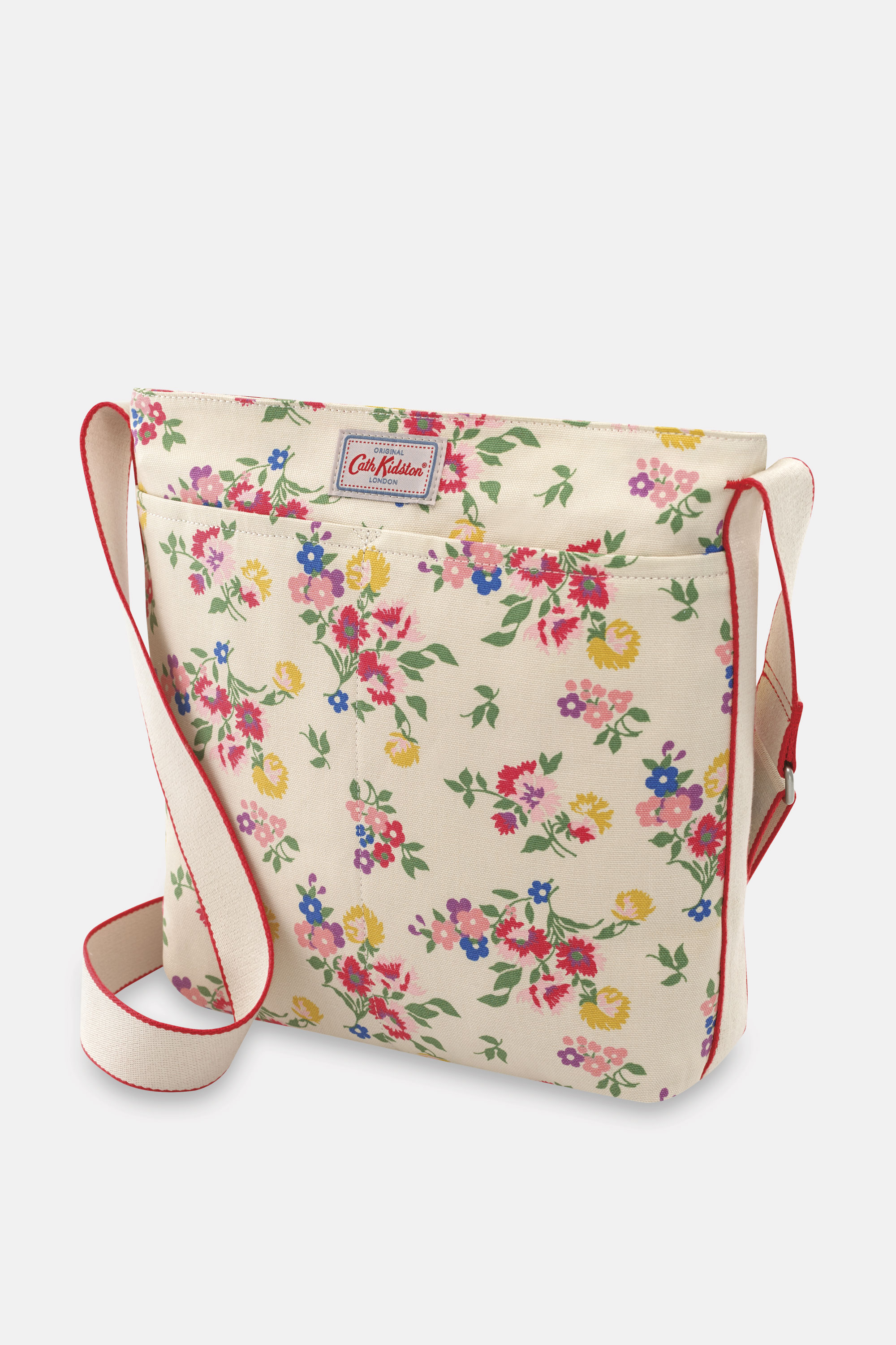 Cath Kidston Summer Floral Zip Messenger Bag in Warm Cream
