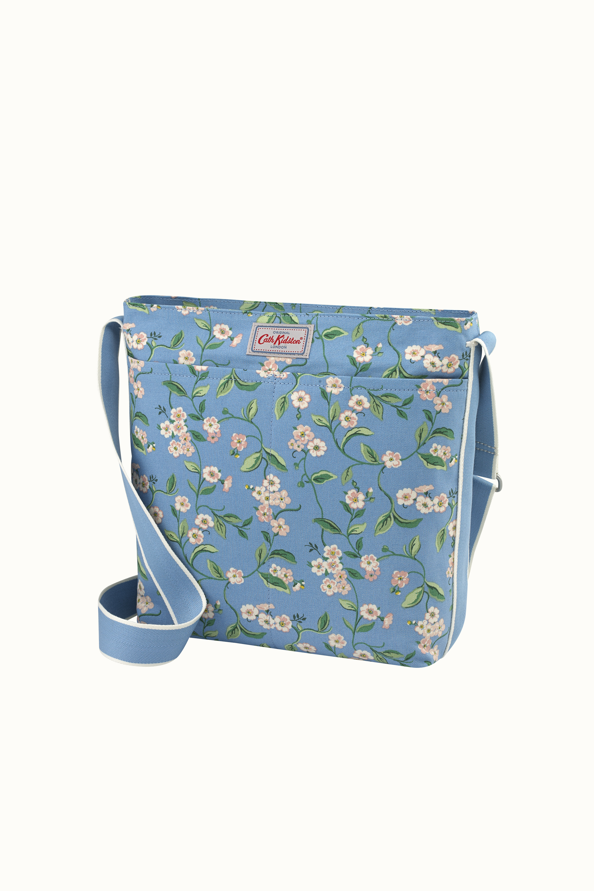 Cath Kidston Forget Me Not Zipped Messenger Bag in Mid Blue