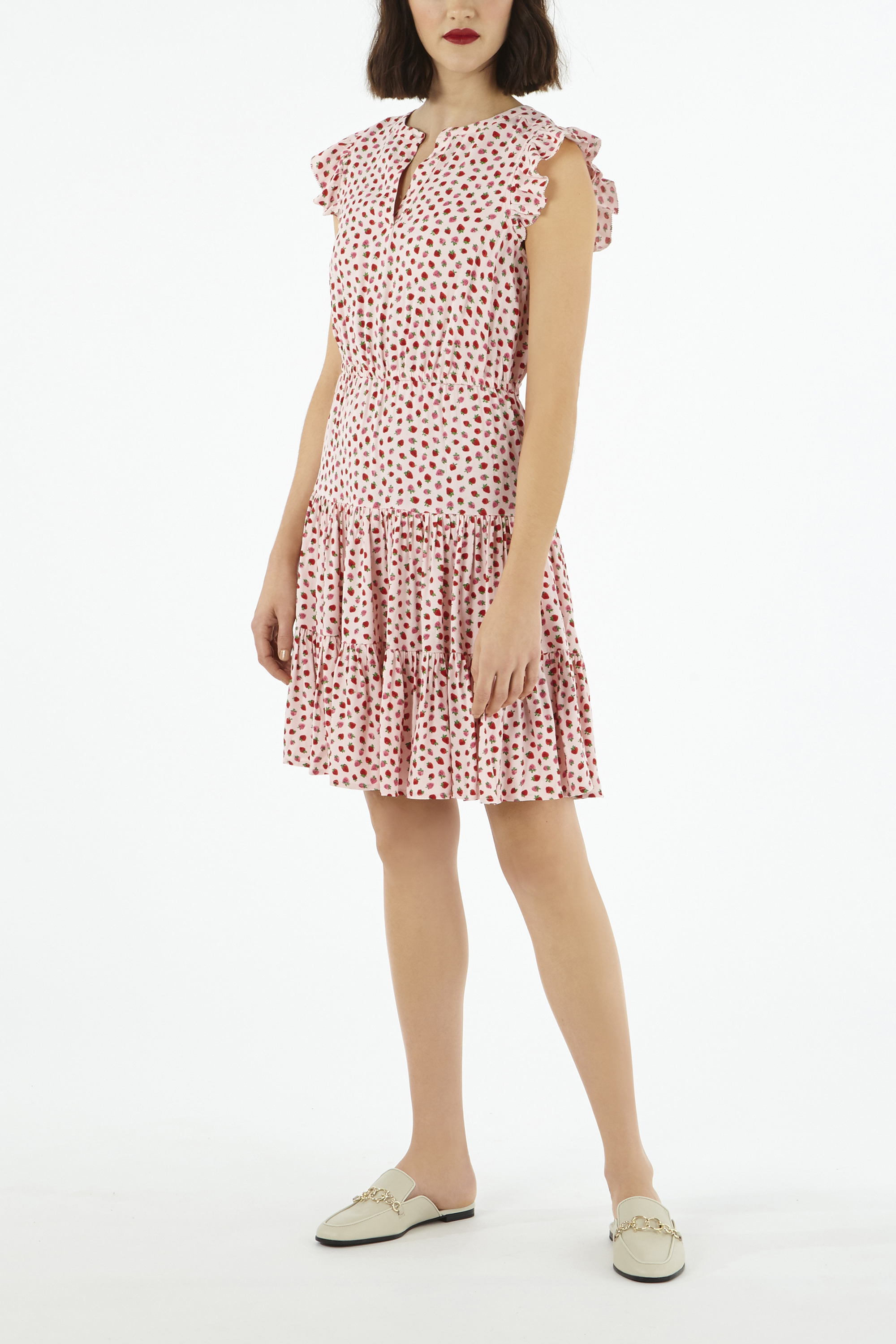 Cath Kidston Strawberry Dress With Tiered Skirt in Light Pink, Straberries, Viscose/Rayon, 10