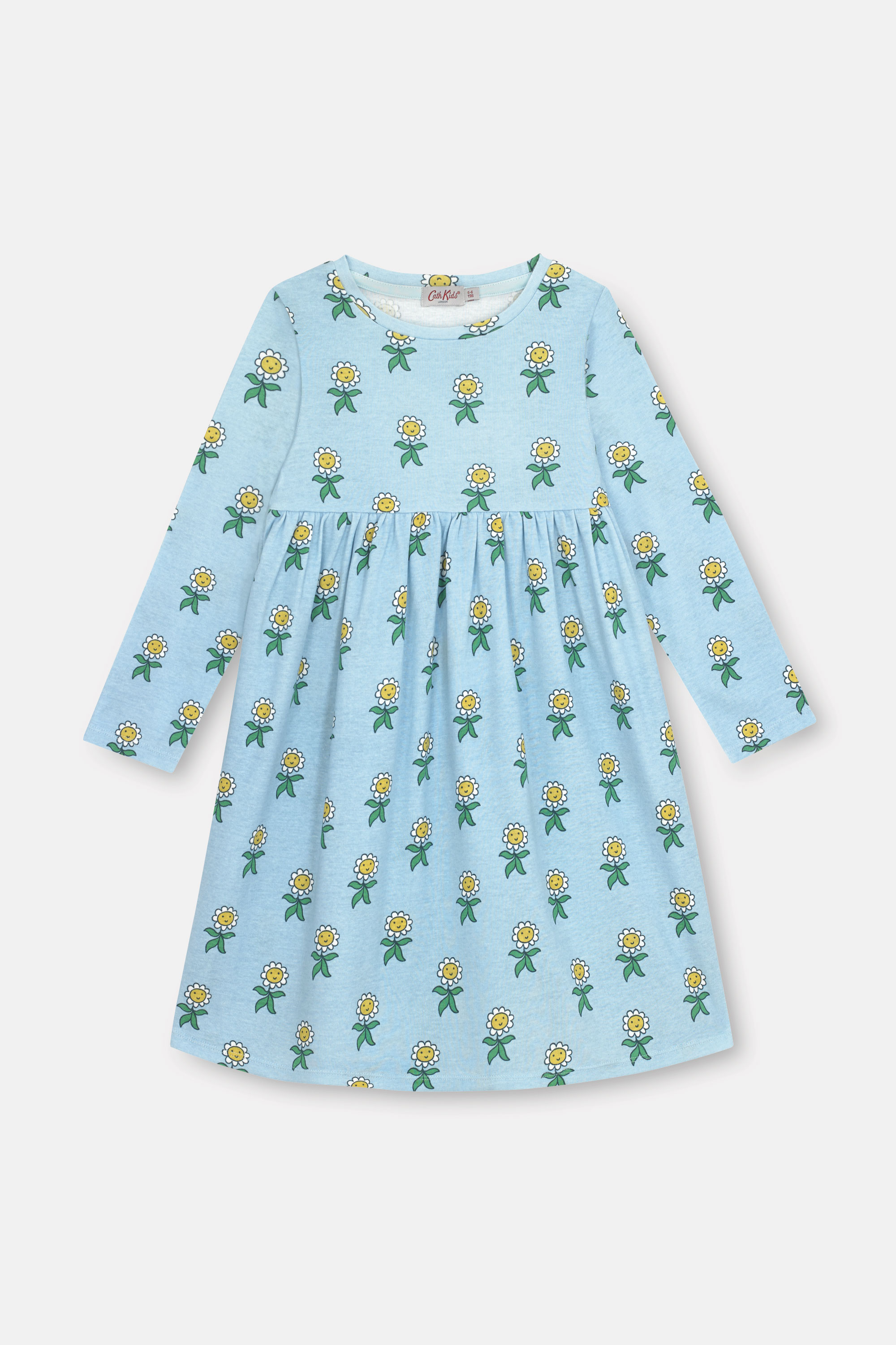 Cath Kidston Petal Flowers Long Sleeve Everyday Dress in Blue Grey, 7-8 yr