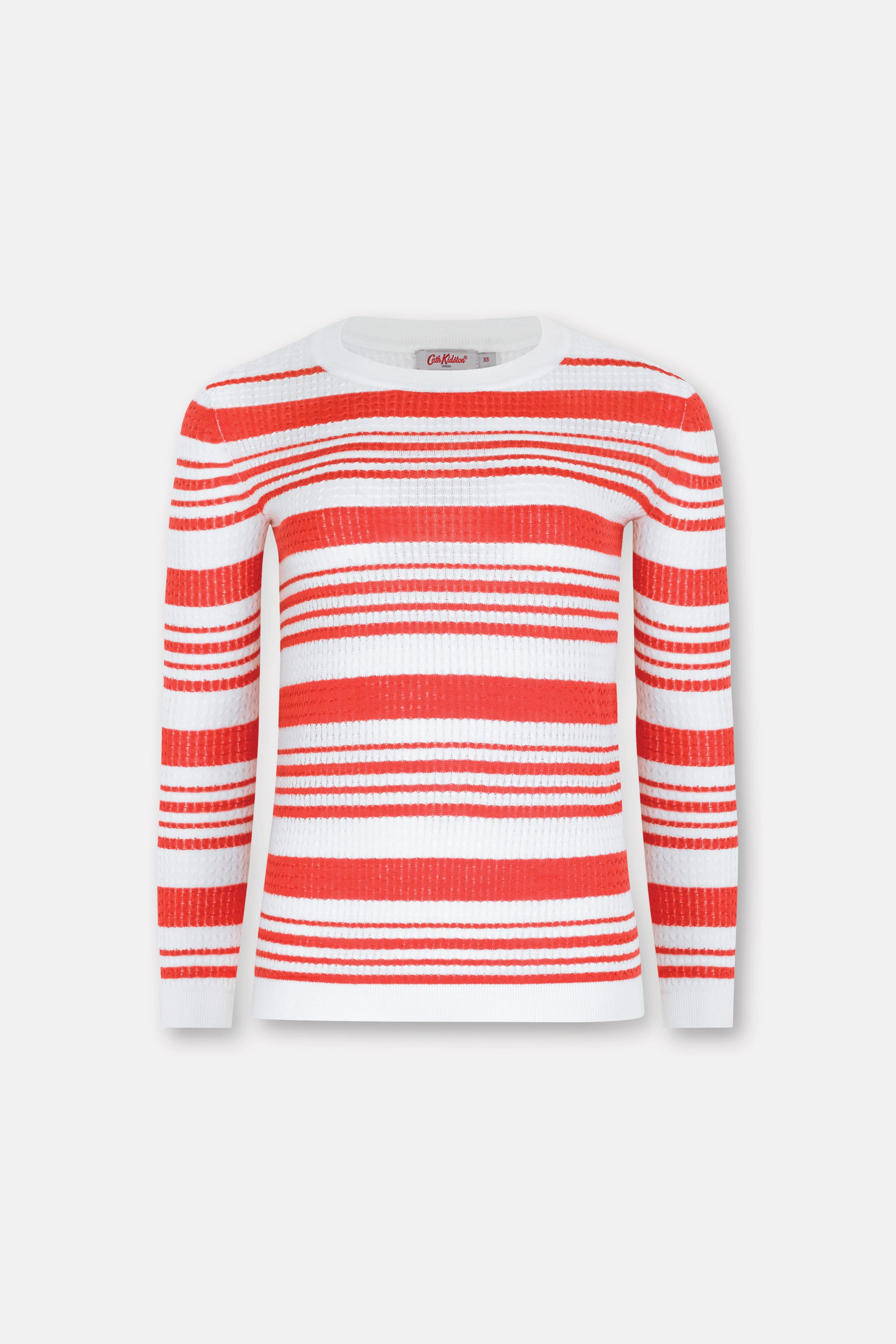 Cath Kidston Cable Red Stripe Jumper in Coral, Viscose Nylon Polyester Cashmere, Size Small