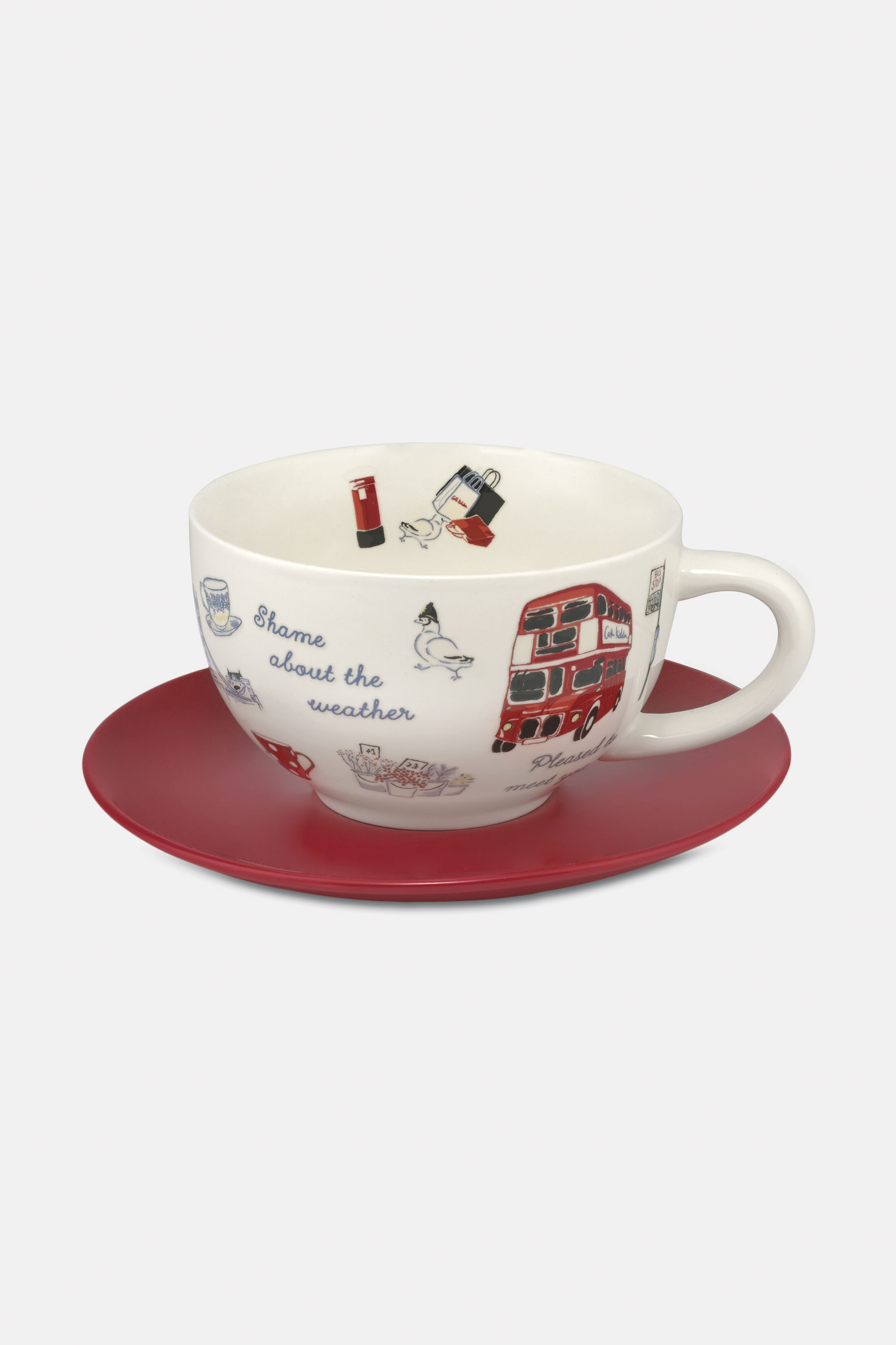 Cath Kidston Cup and Saucer in Light Blue, London Icons, 100% Stoneware
