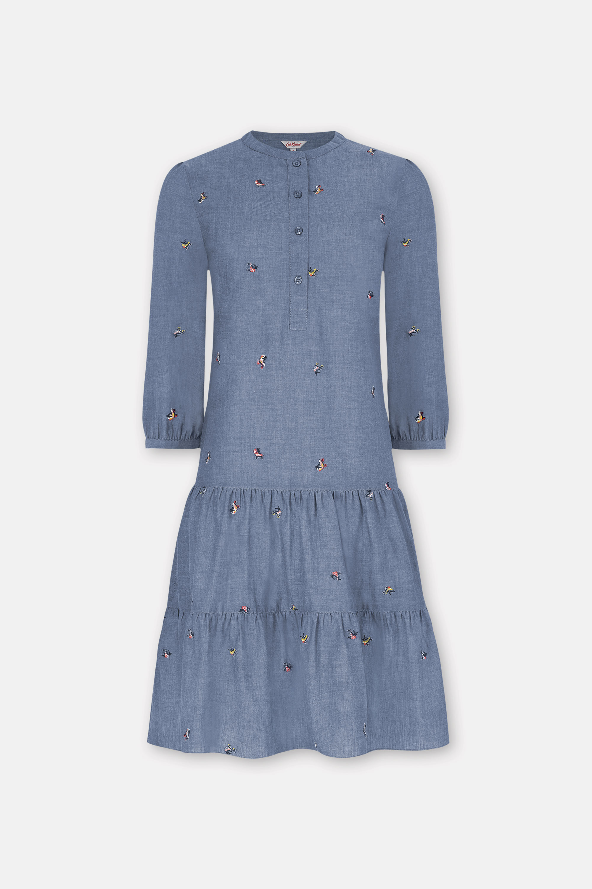 Cath Kidston Embroidered A-Line Dress in Blue, Rollerskates, 100% Cotton, 16