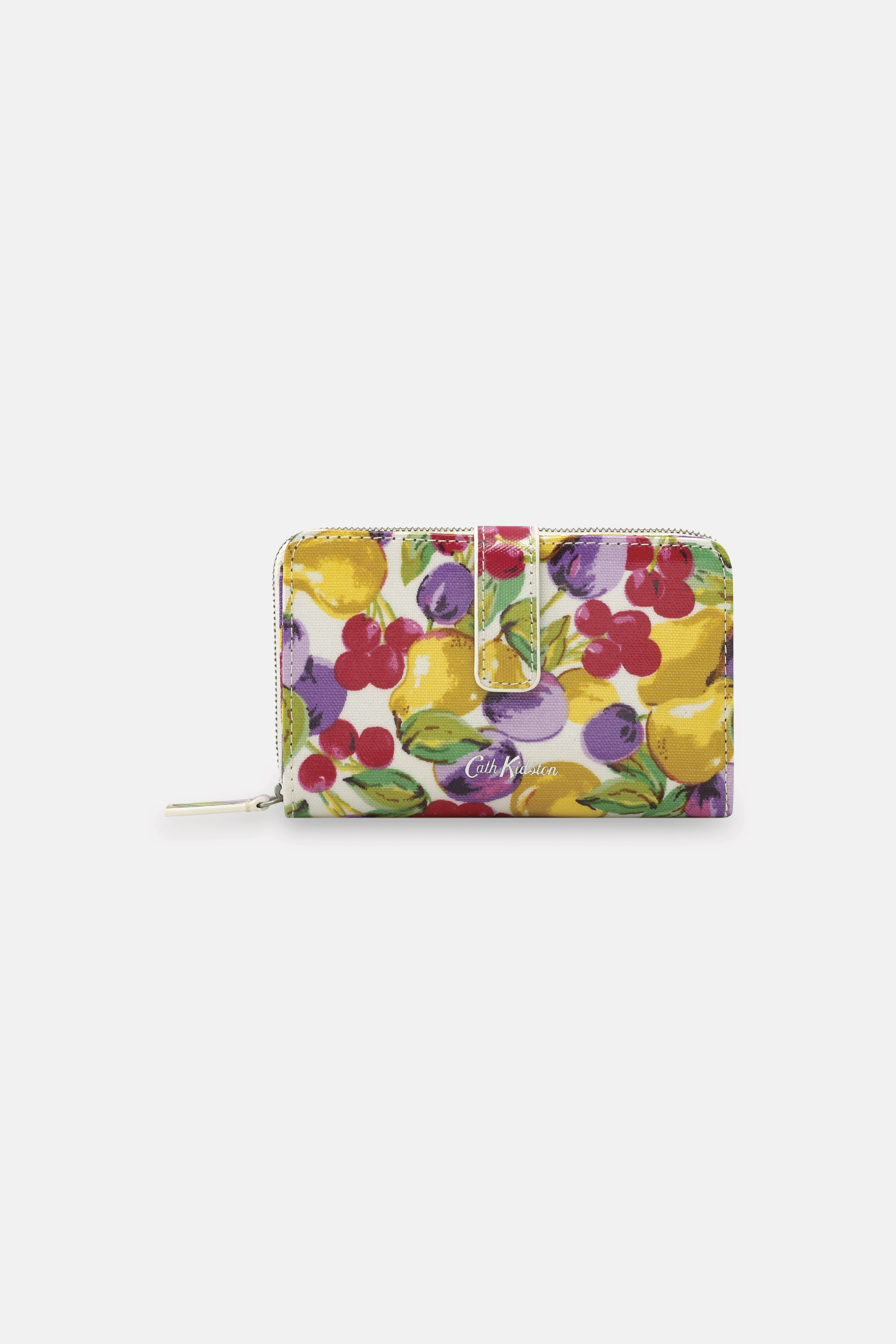 Cath Kidston Small Painted Fruit Folded Zip Wallet in Warm Cream