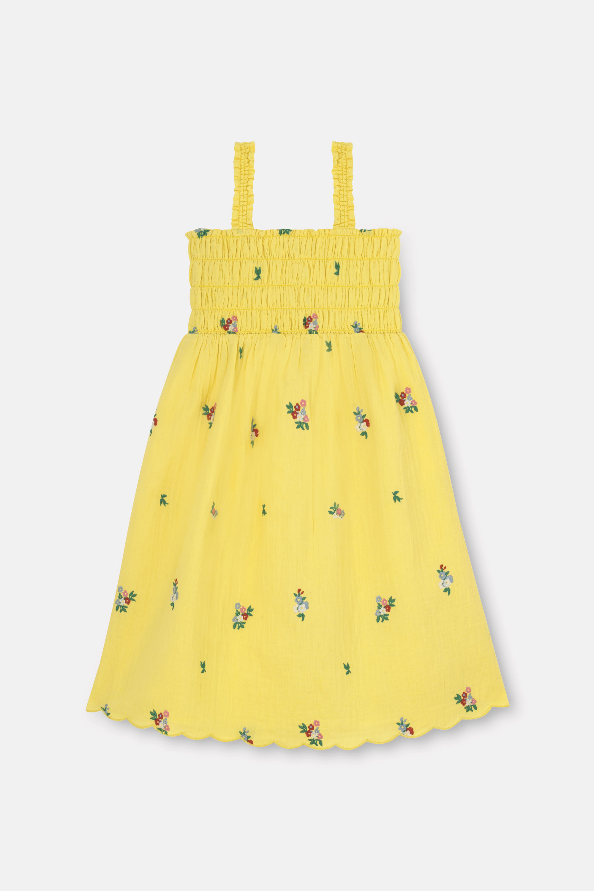 Cath Kidston Spaced Summer Floral Shirred Midi Dress in Yellow, 2-3 yr