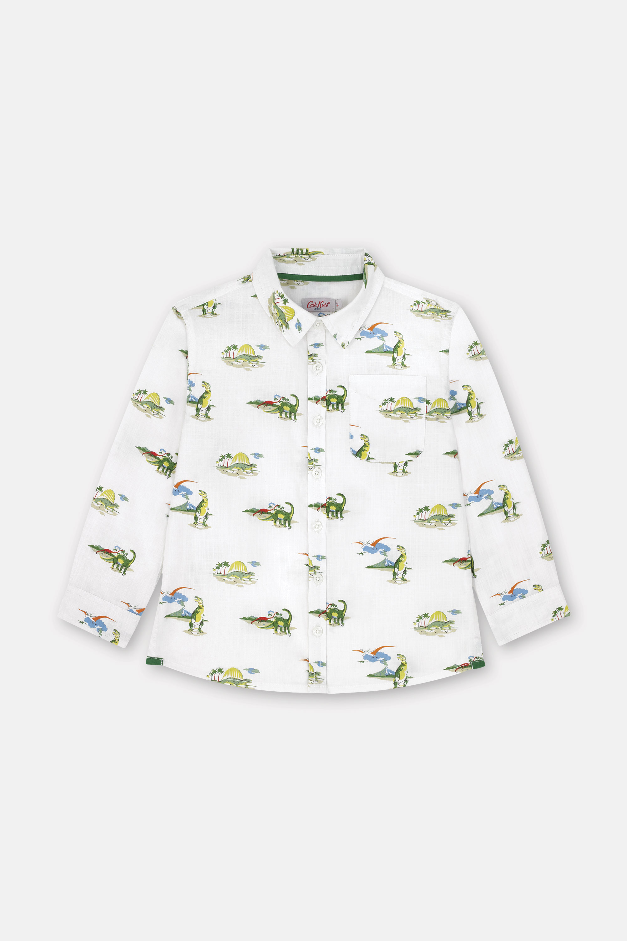 Cath Kidston Kids Long Sleeve Oversized Shirt in Ivory, Spaced Dino, 100% Cotton, 1-2 yr