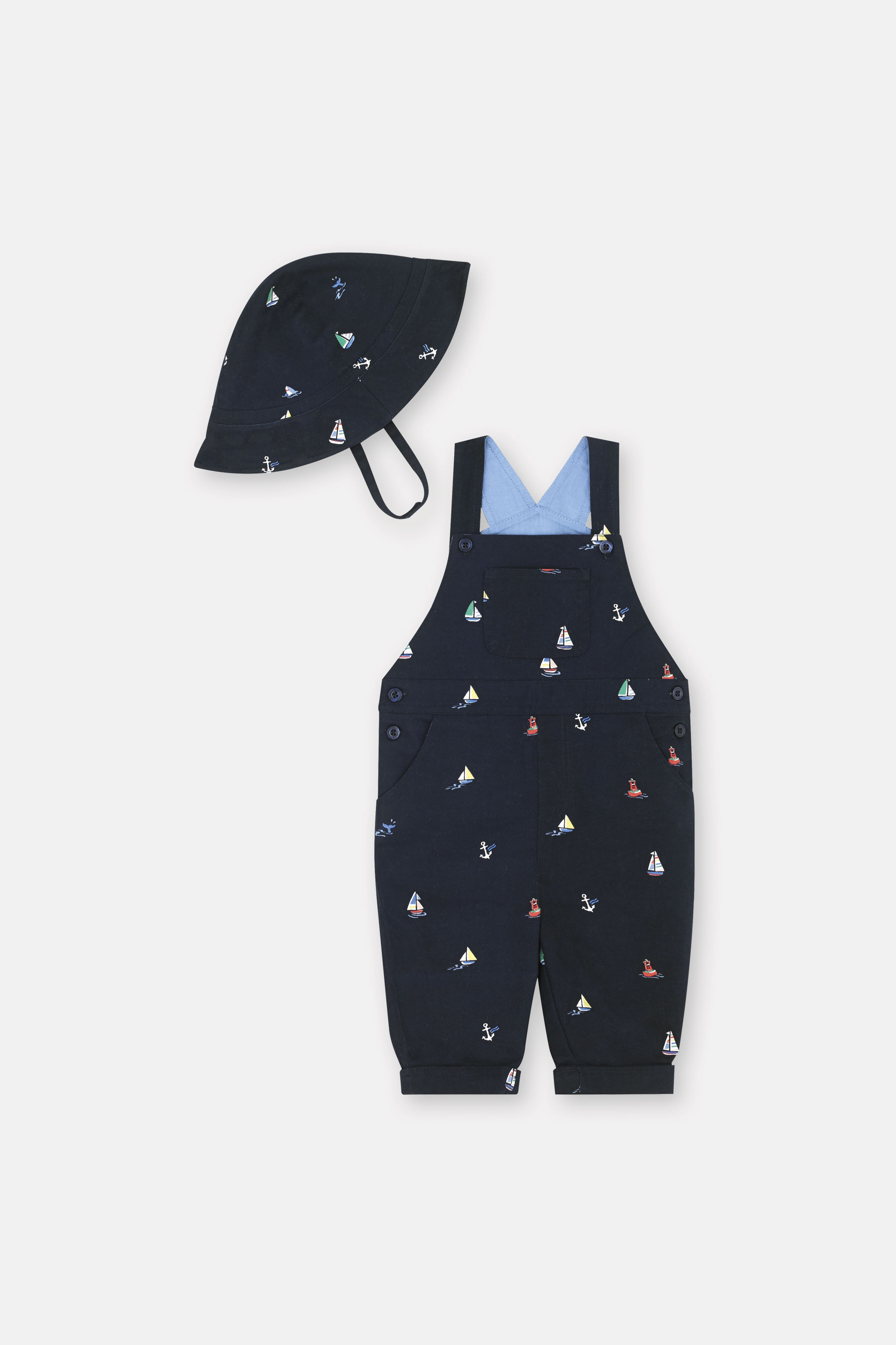 Cath Kidston Small Sail Boats Dungarees in Bright Navy, 12-18 Mo
