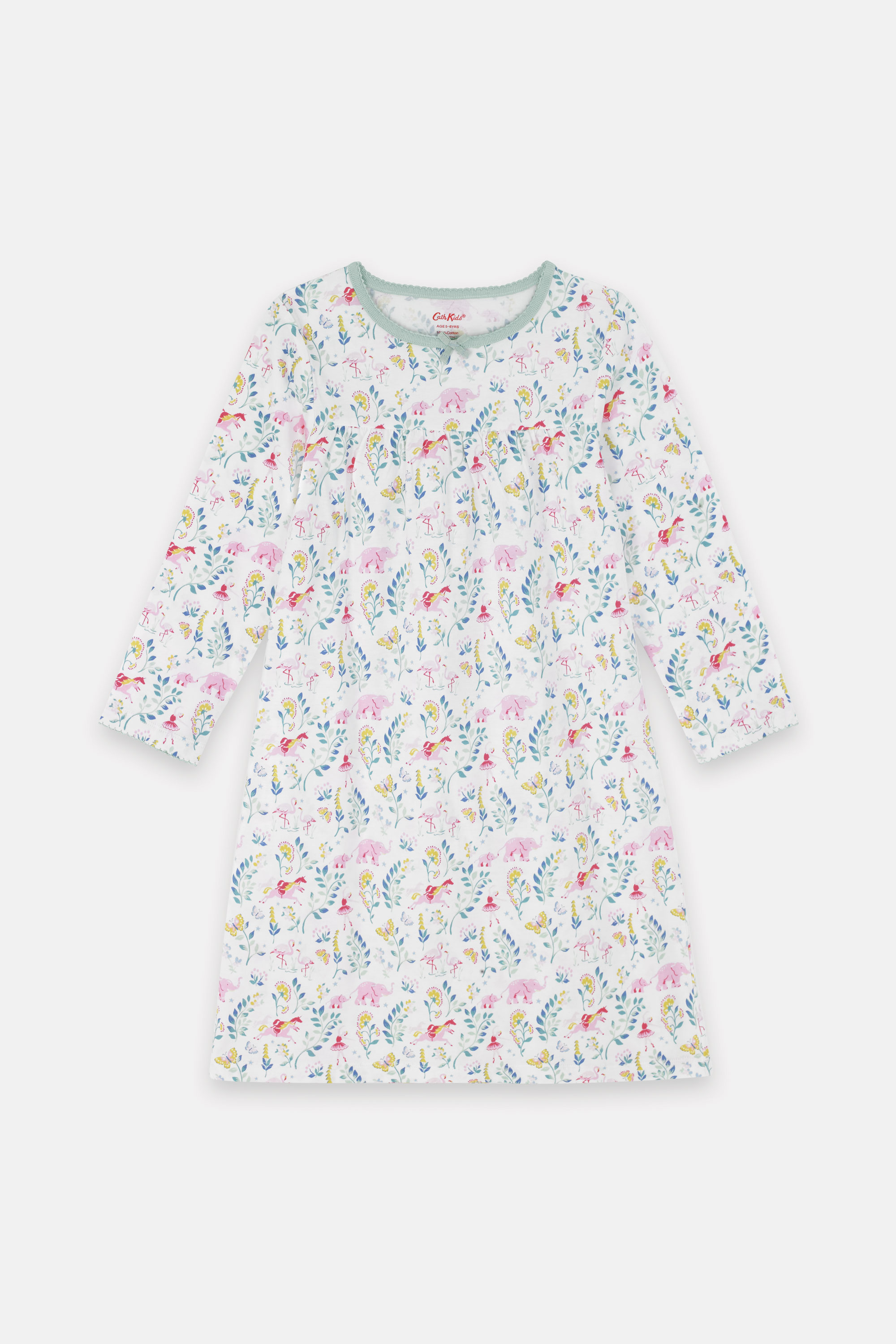 Cath Kidston Fantasy Forest Kids Nightie in Oyster Shell, 100% Cotton, 7-8 yr