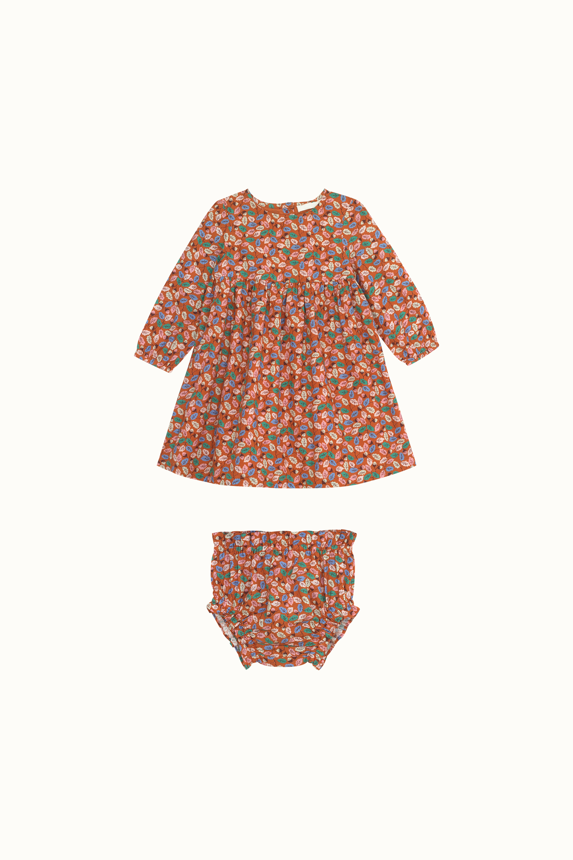 Cath Kidston Trailing Leaves Baby Evie Dress in Red Brown, 0-3 Mo