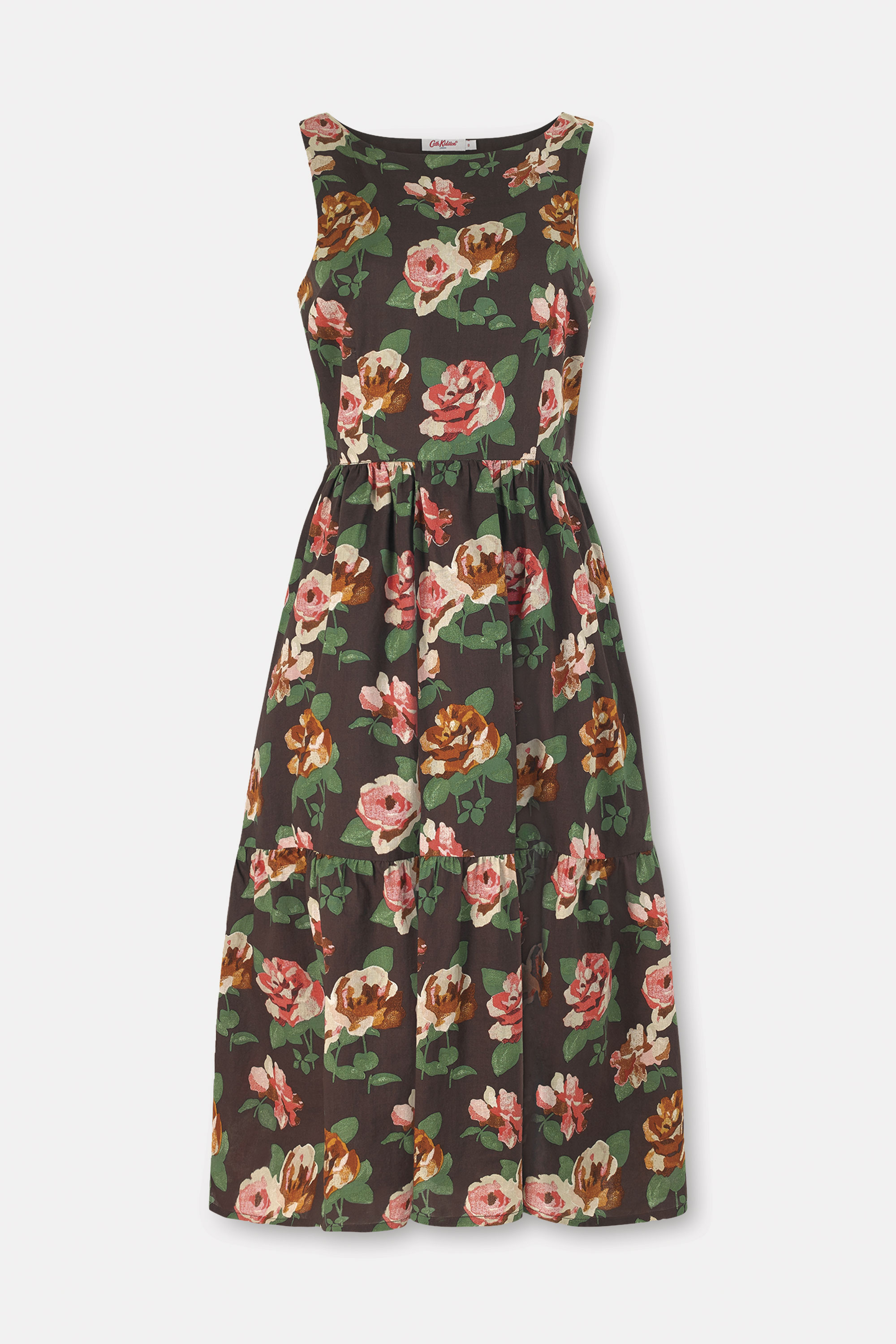 Cath Kidston Chiswick Rose Tiered Hem Cotton Dress in Chestnut, 100% Cotton, 8