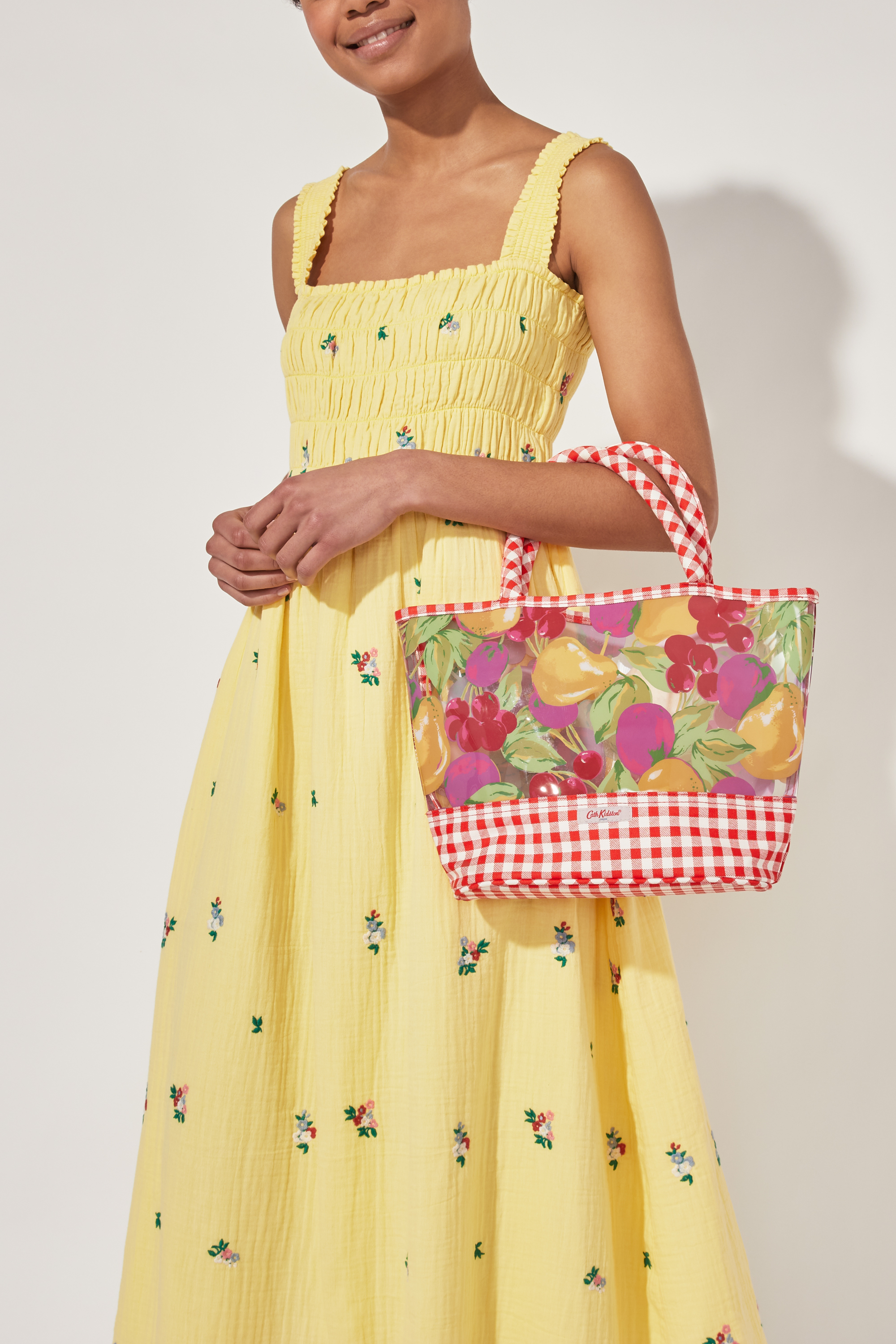 Cath Kidston Painted Fruit PVC Tote in Warm Cream