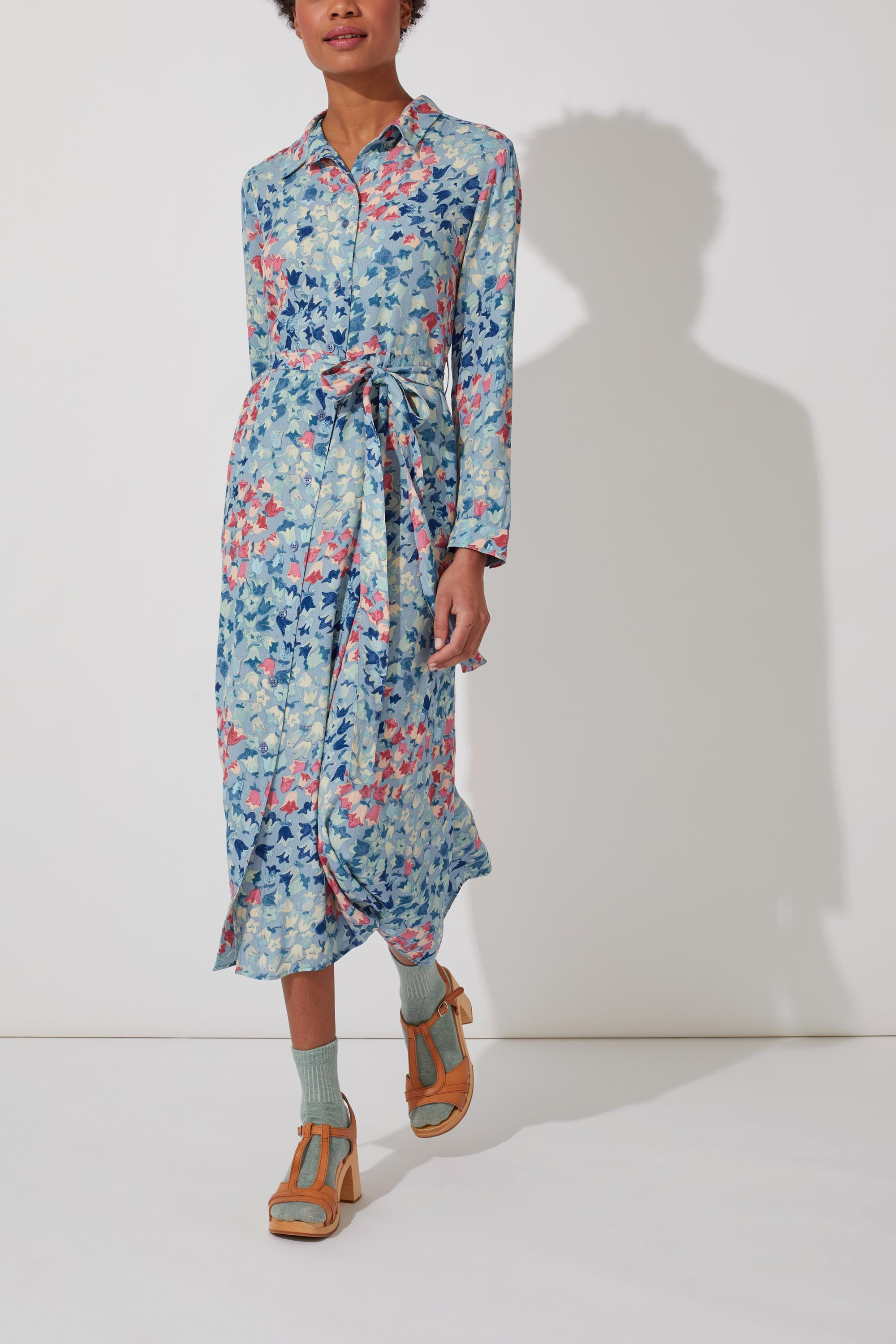 Cath Kidston Painted Bluebell Midi Dress in Dusty Blue, 6