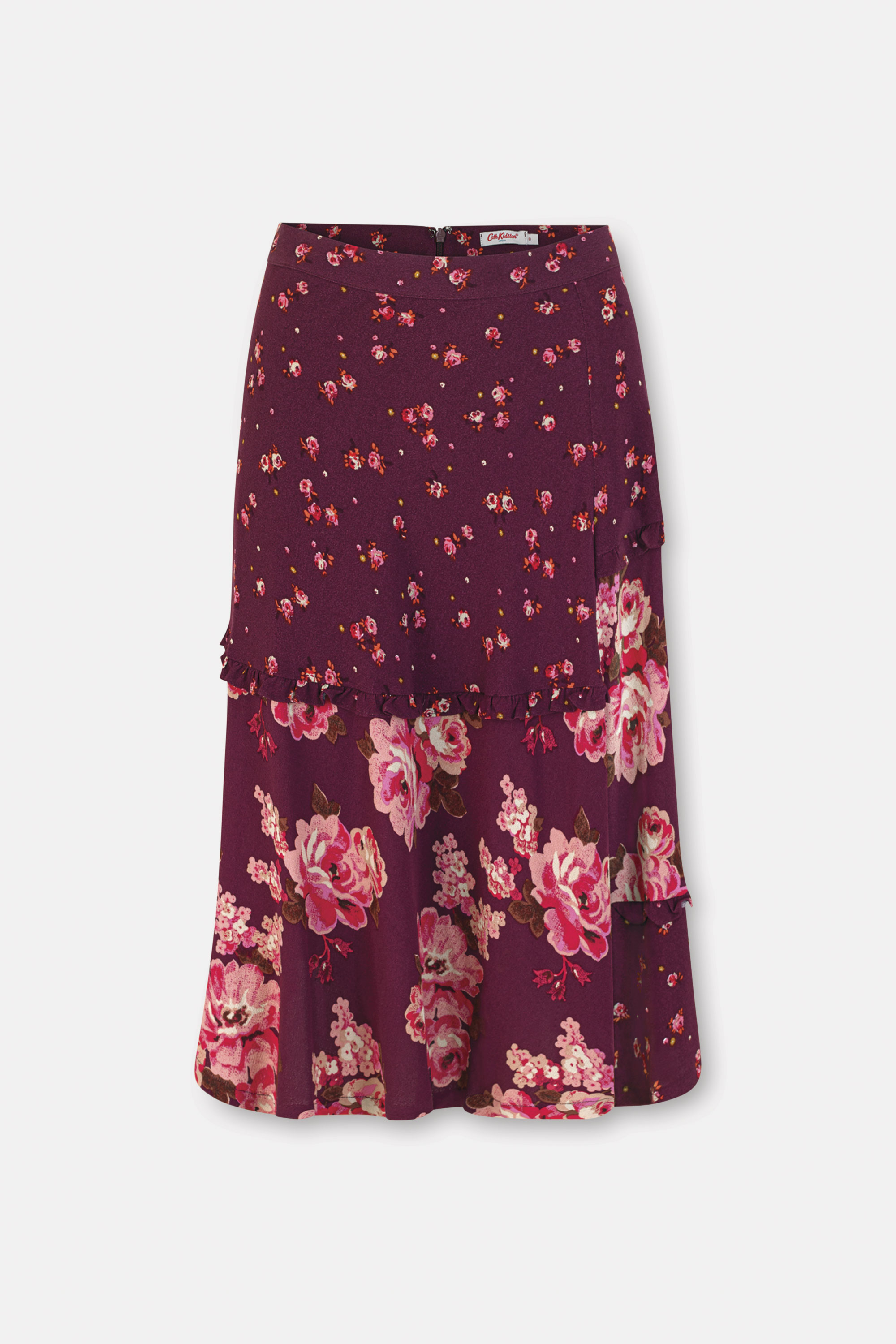 Cath Kidston Patchwork Florals Frill Trim Skirt in Plum, Wimbourne Ditsy, 100% Viscose, 6