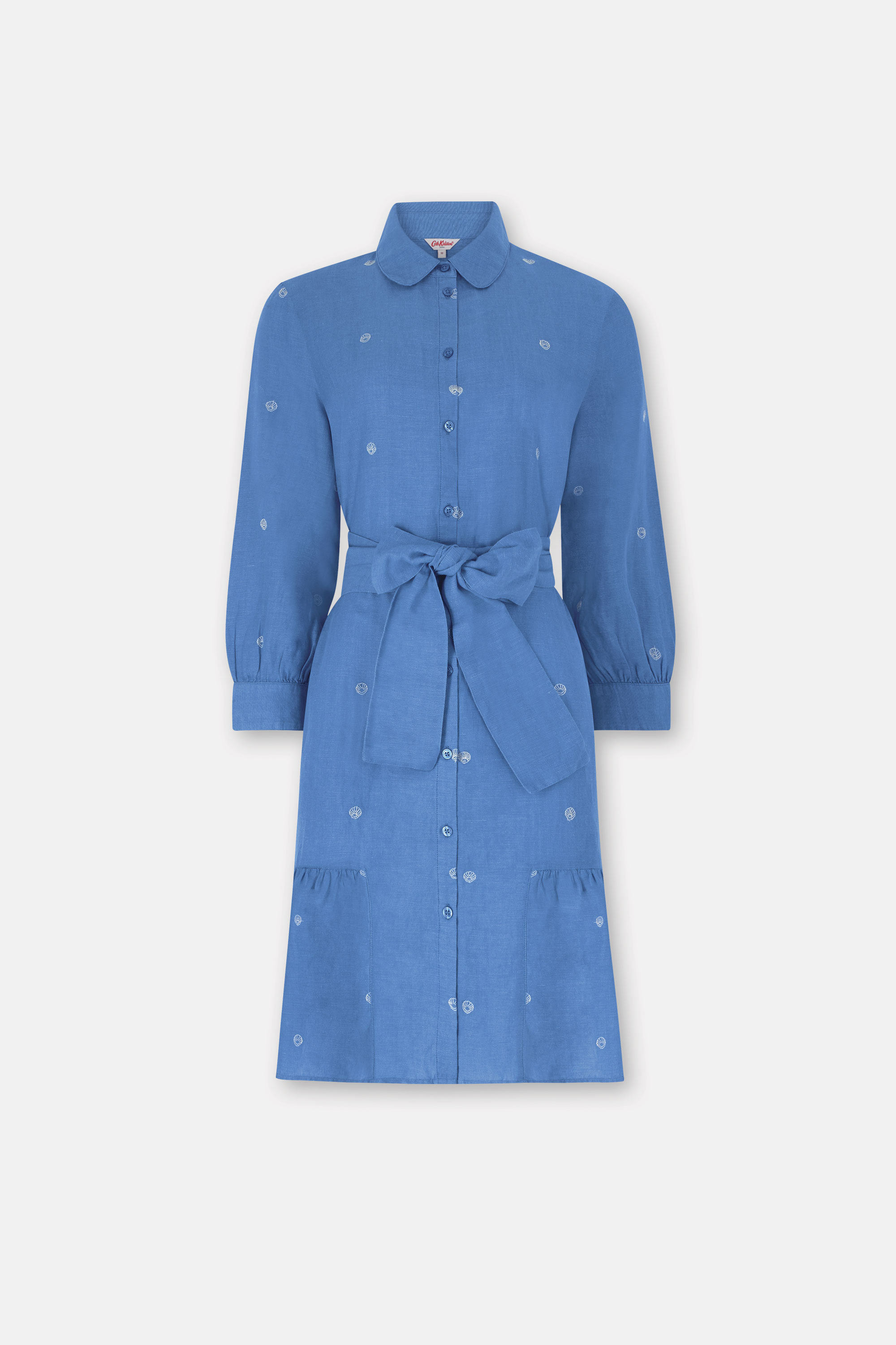 Cath Kidston Shells Print Embroidered Shirt Dress in Chambray, Seaside Shells, 100% Linen, 18