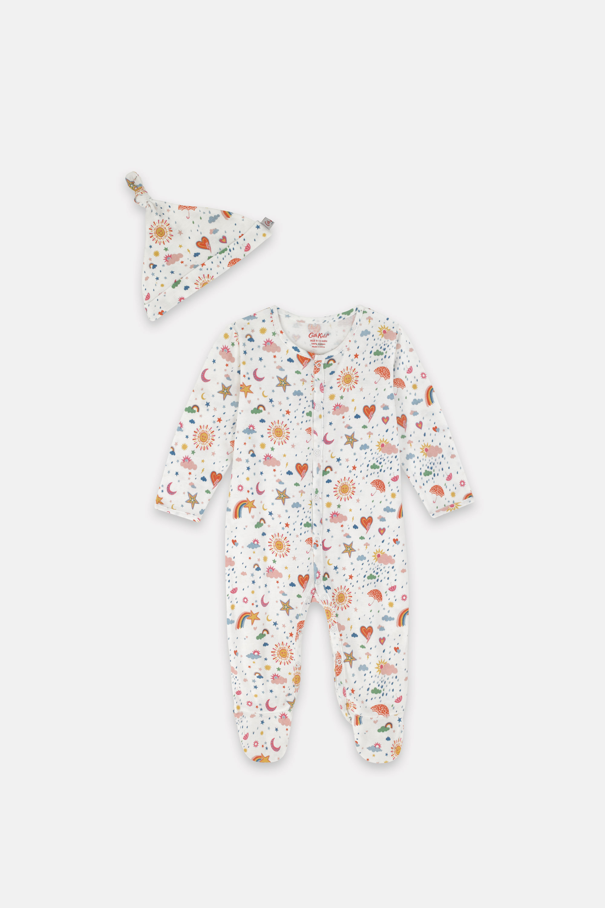 Cath Kidston Weather Print Bodysuit and Hat Set in Ivory, 6-9 Mo