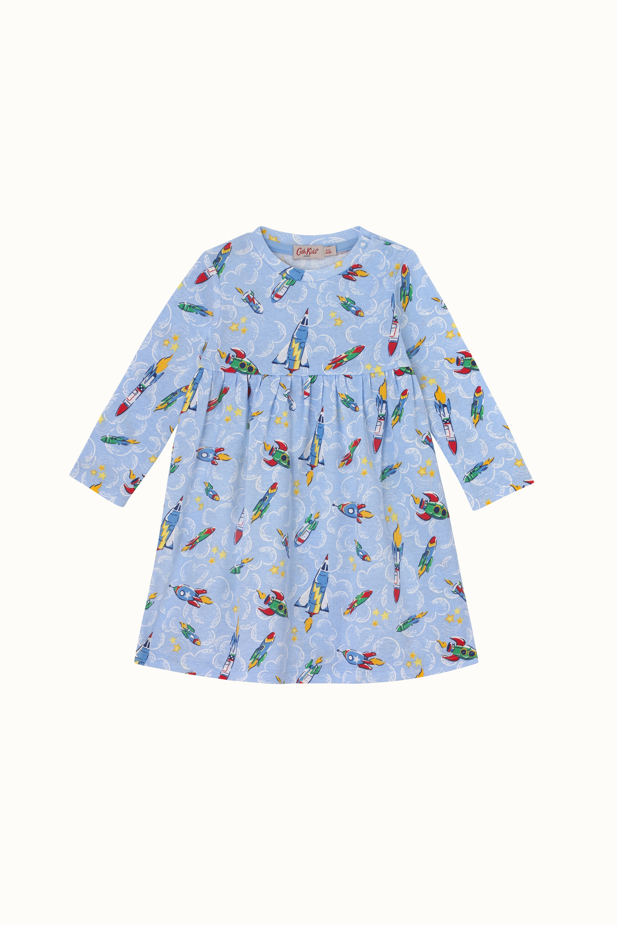 Cath Kidston Rockets Baby Long Sleeve Everyday Dress in Light Blue, 3-6 Mo