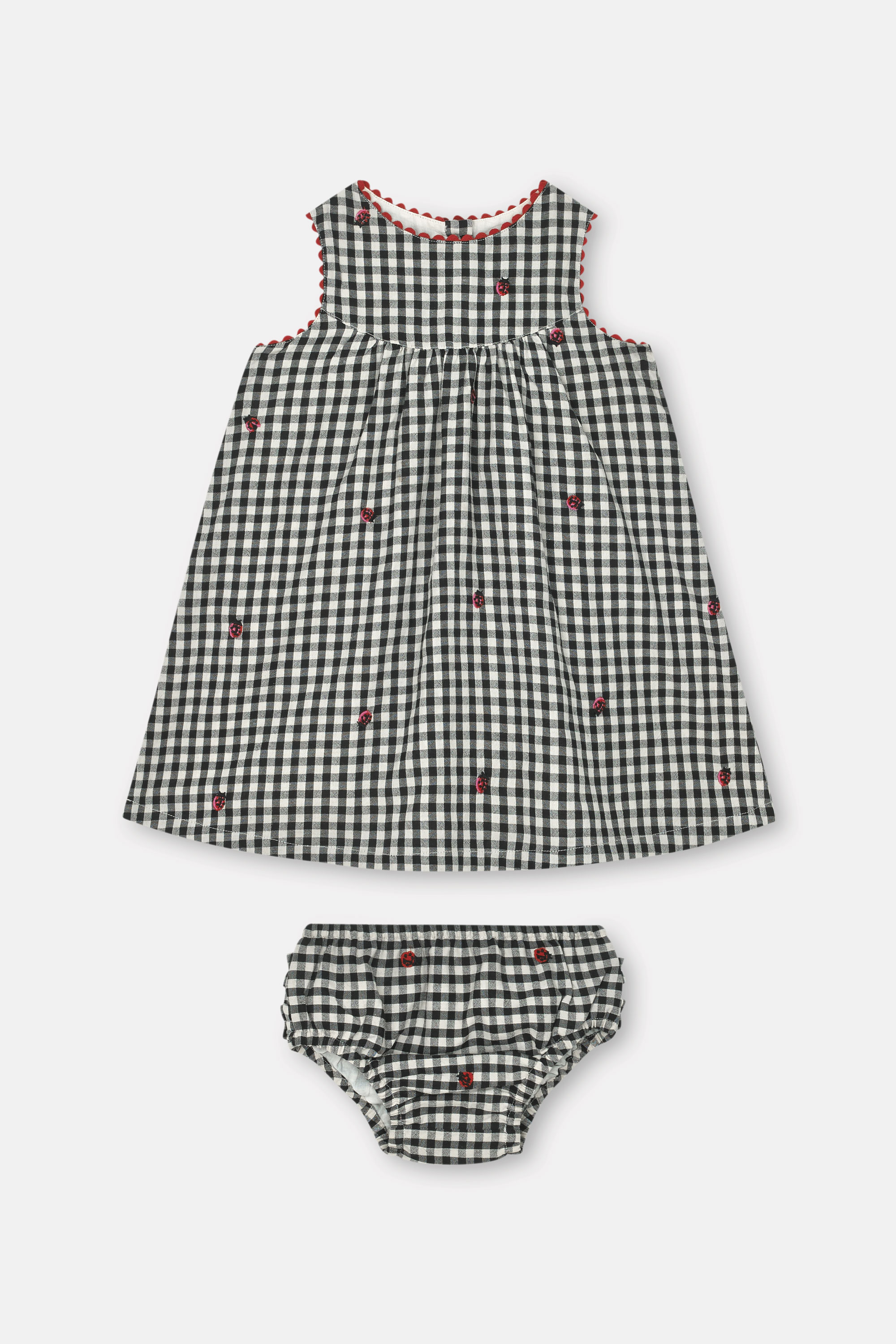 Cath Kidston Ladybug Gingham Baby Embroidered Eleanor Dress in Stone Charcoal, 12-18 Mo
