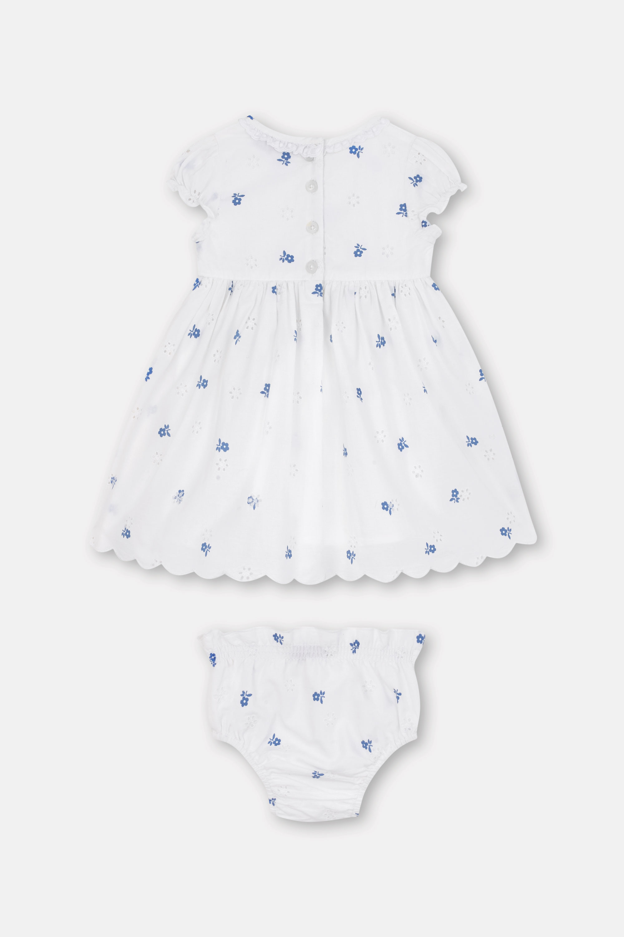 Cath Kidston Scattered Mono Floral Baby Emily Dress in Warm Cream, 9-12 Mo