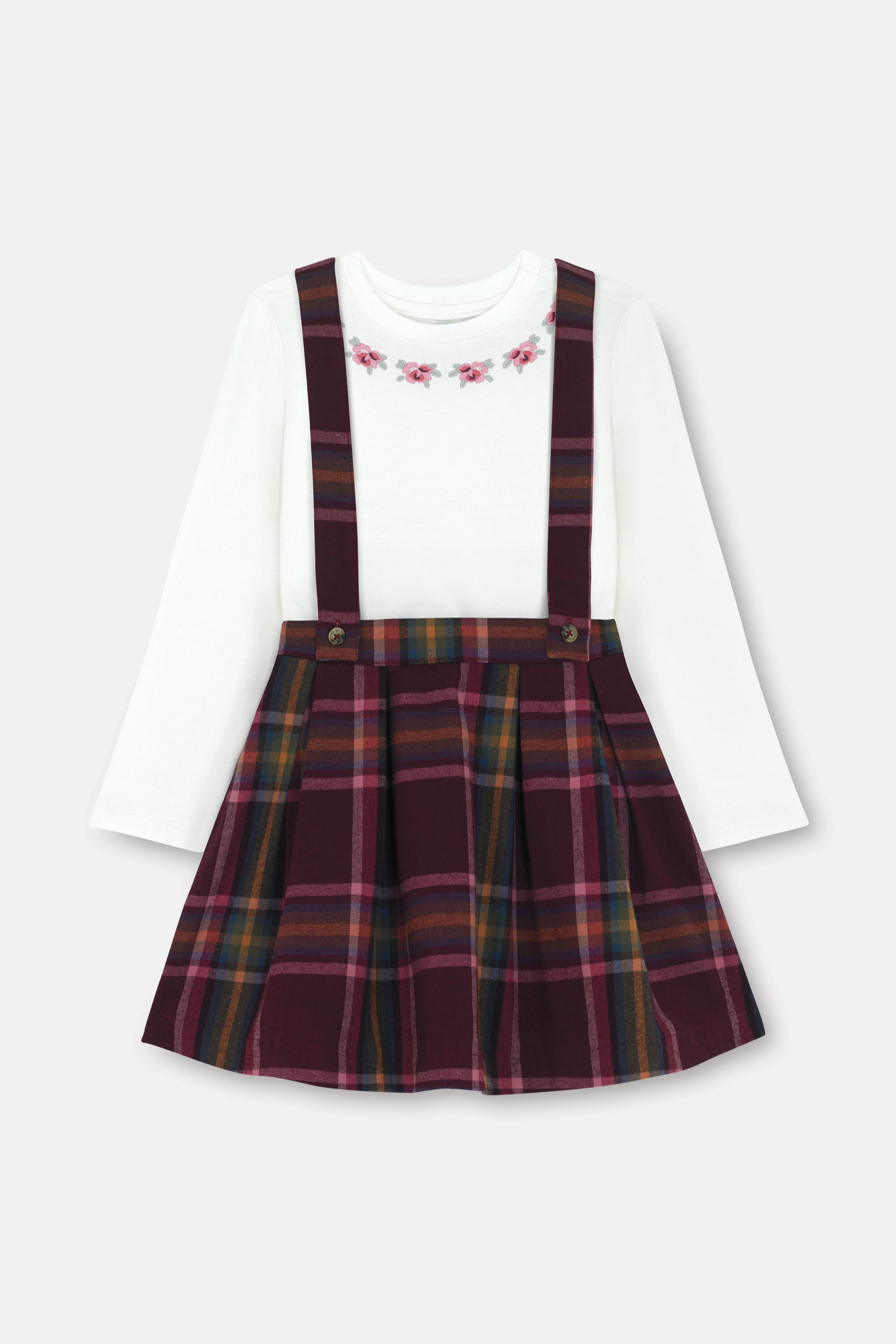 Cath Kidston Kids Pinafore and T-Shirt Set in Dark Plum, Clarendon Check, Cotton/Polyester Blend, 5-