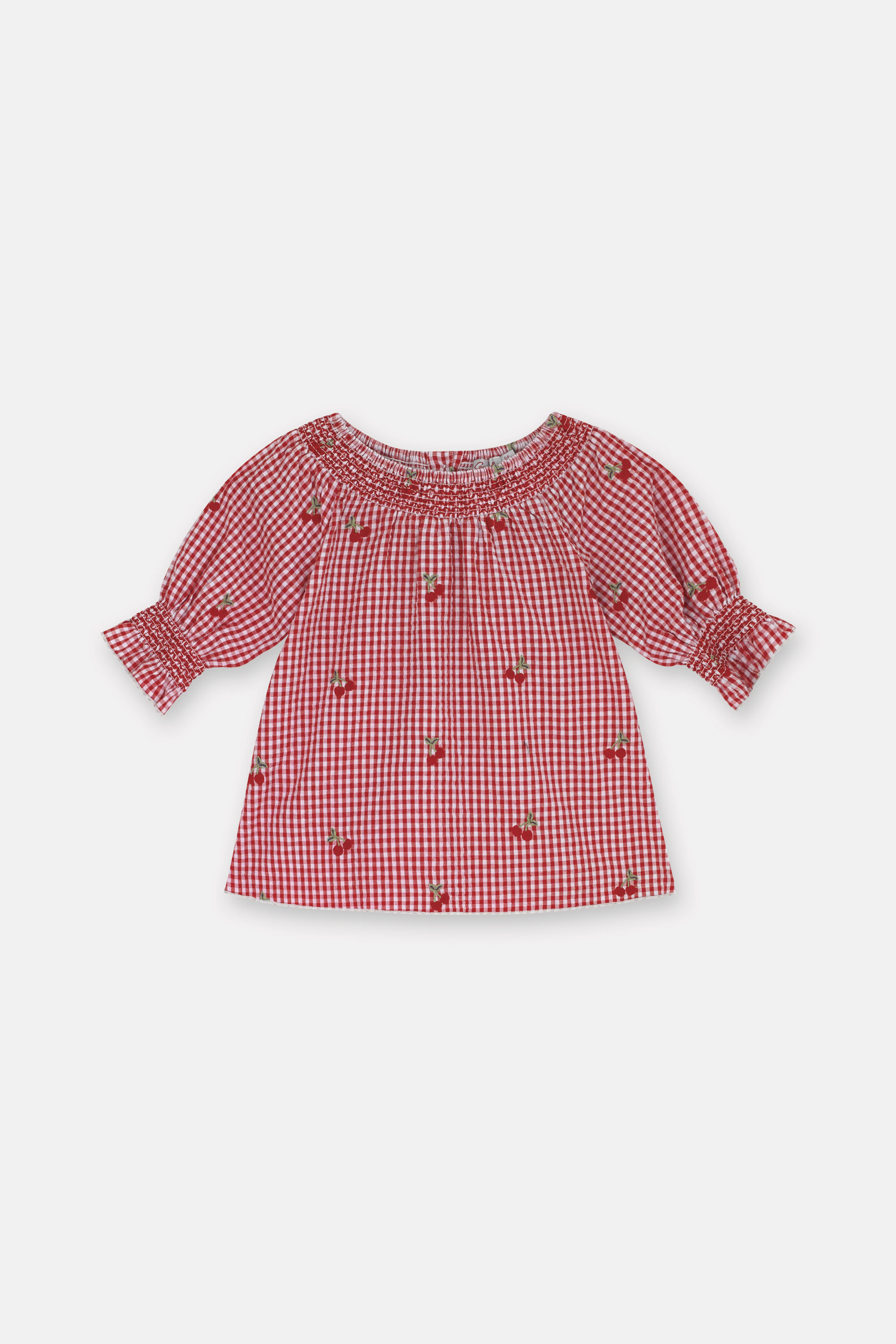 Cath Kidston Small Gingham Blouse in Warm Cream, 3-4 yr