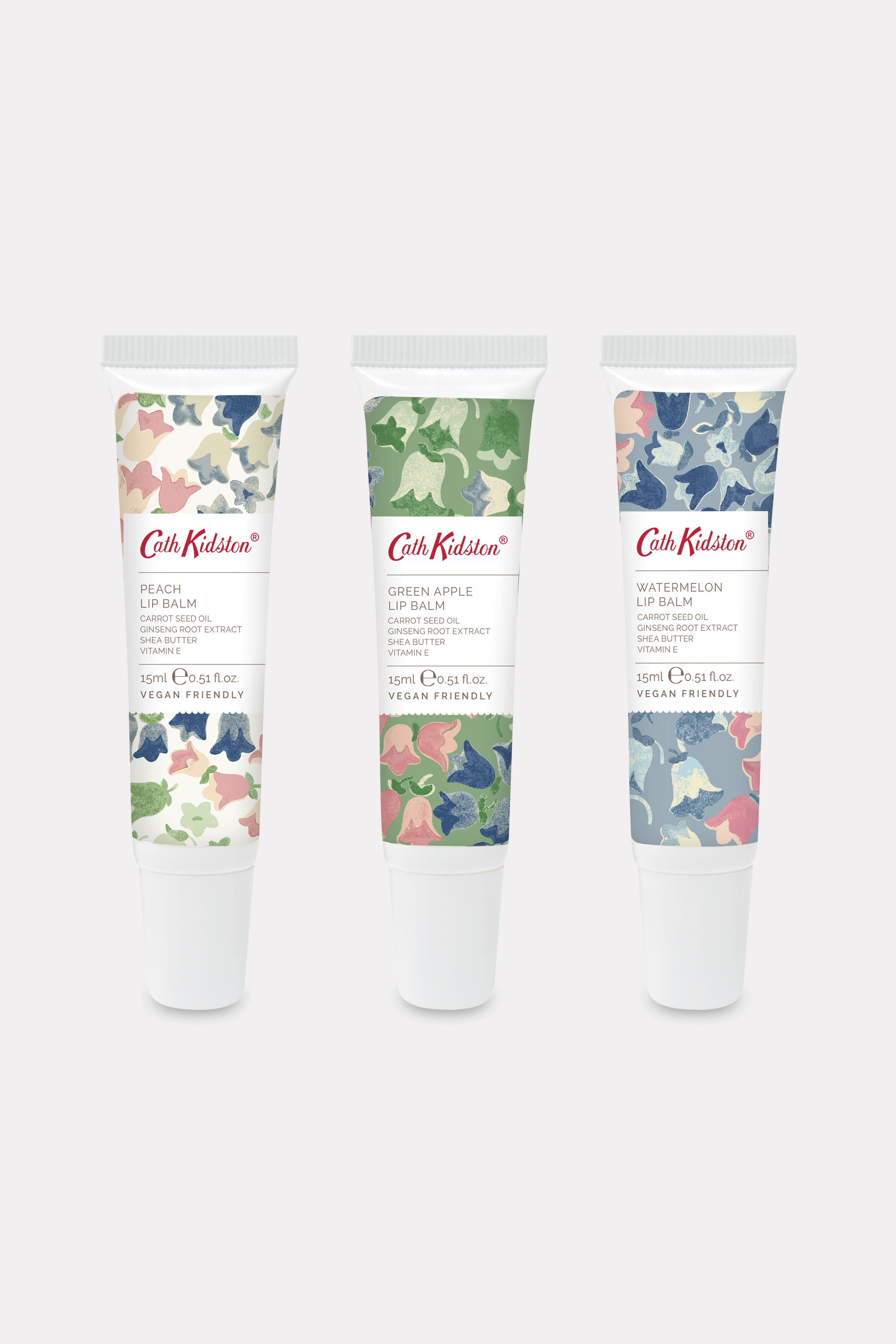 Cath Kidston Painted Bluebell Lipbalm Trio in Warm Cream